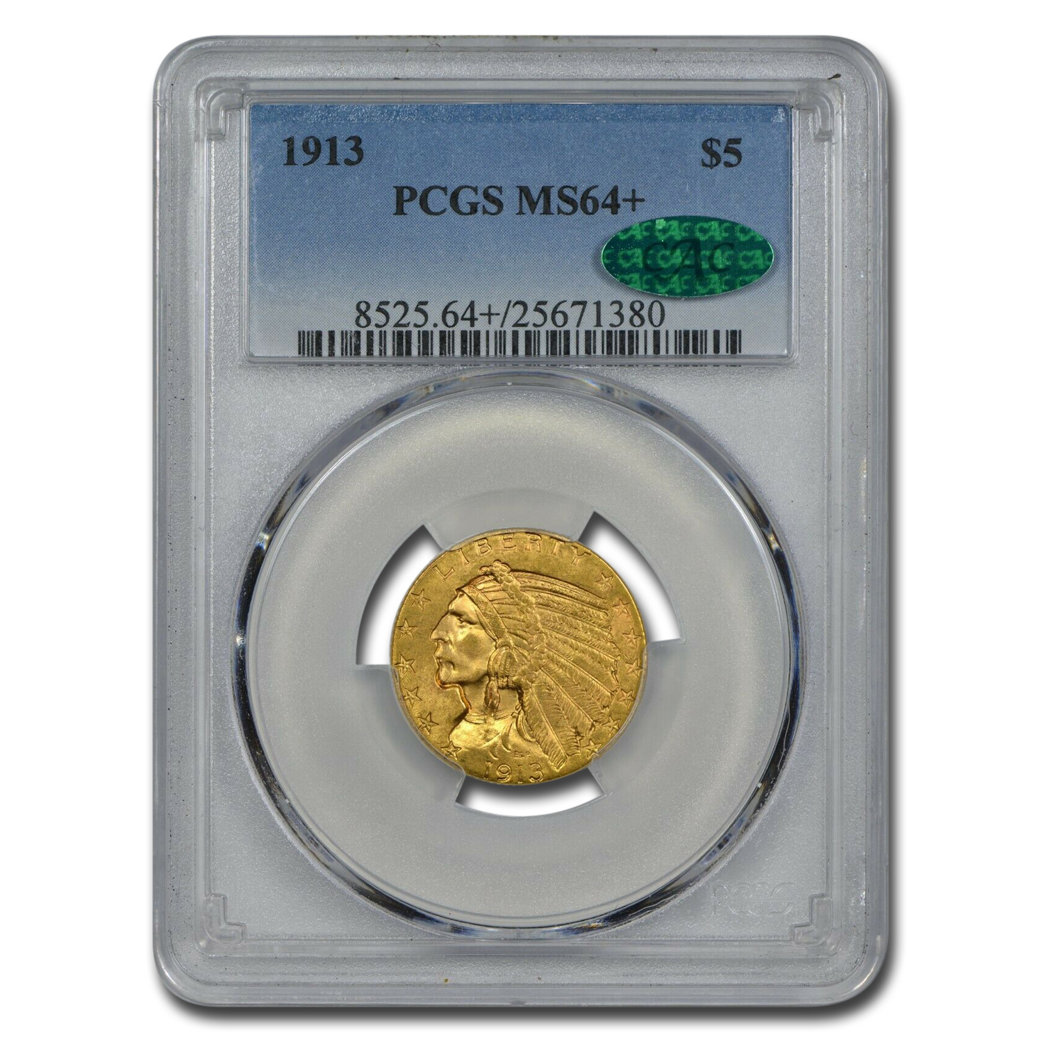 1913 $5 Indian Gold Half Eagle MS-64+ PCGS CAC