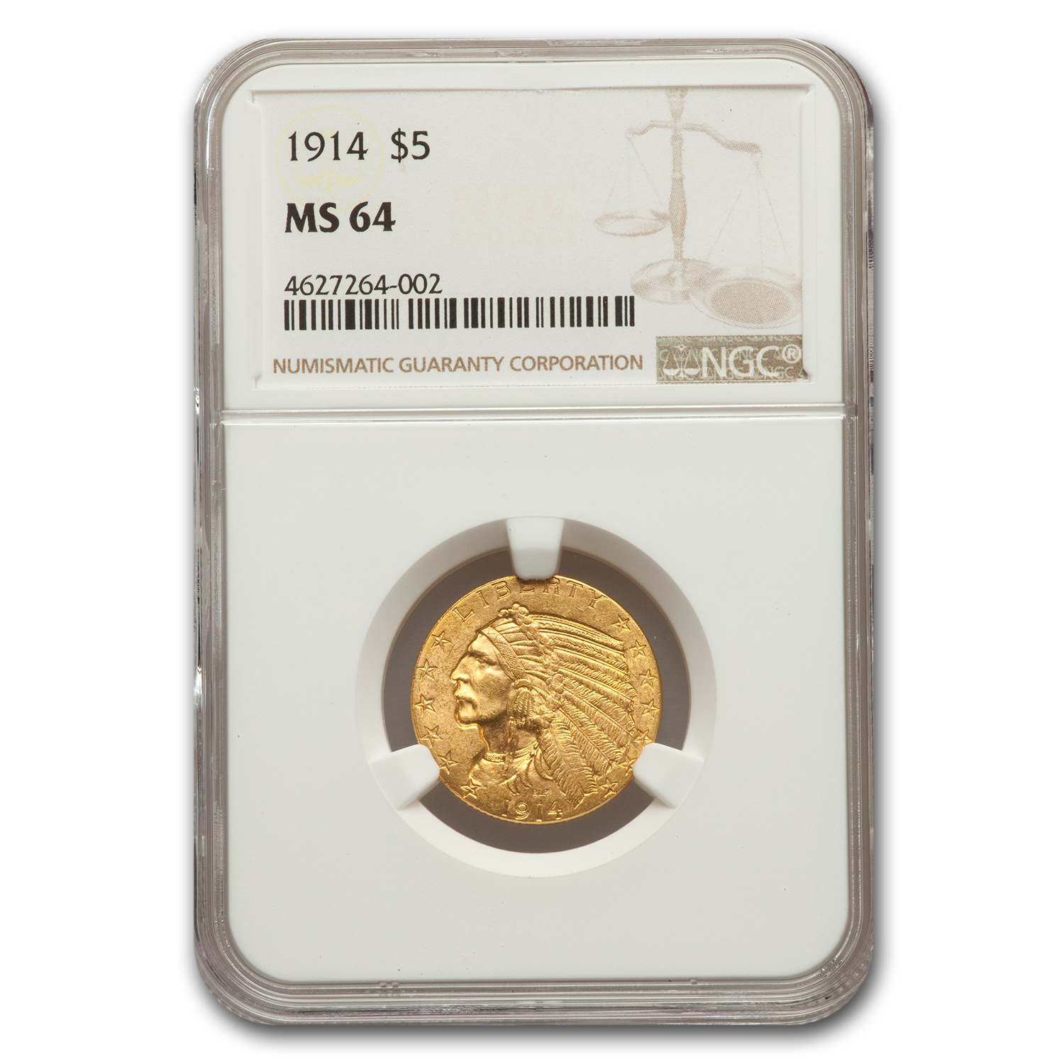 1914 $5 Indian Gold Half Eagle MS-64 NGC