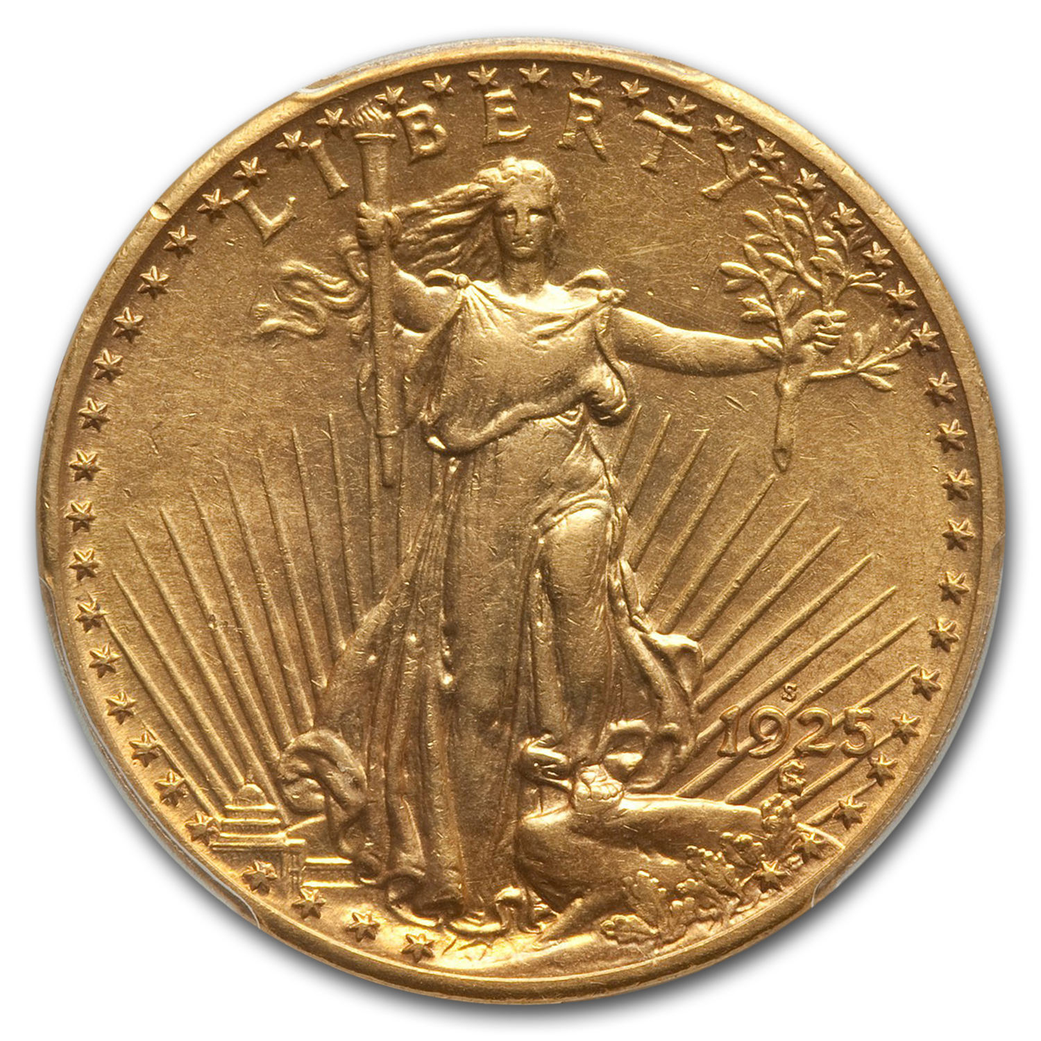 1925-S $20 Saint-Gaudens Gold Double Eagle AU-55 PCGS