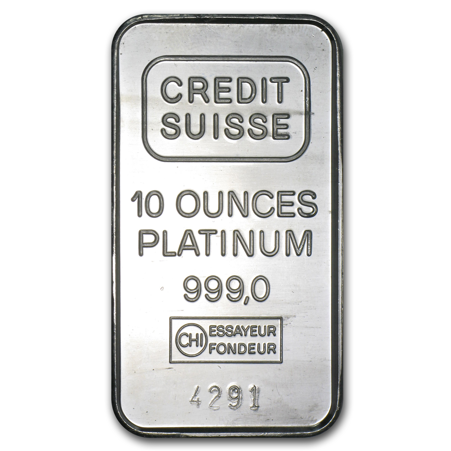 10 oz Platinum Bar - Credit Suisse (.999 Fine, Vintage)