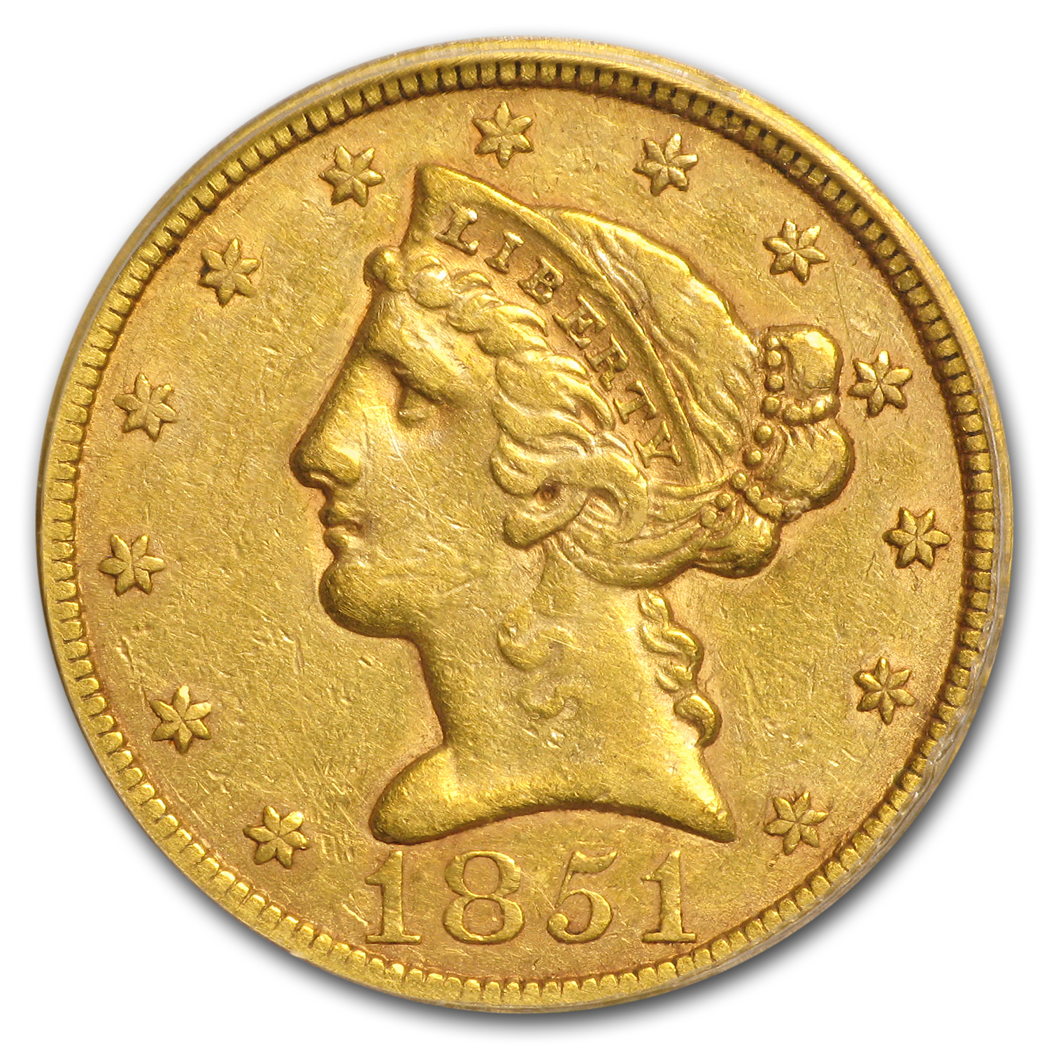 1851 $5 Liberty Gold Half Eagle VF-35 PCGS (Mint Error)
