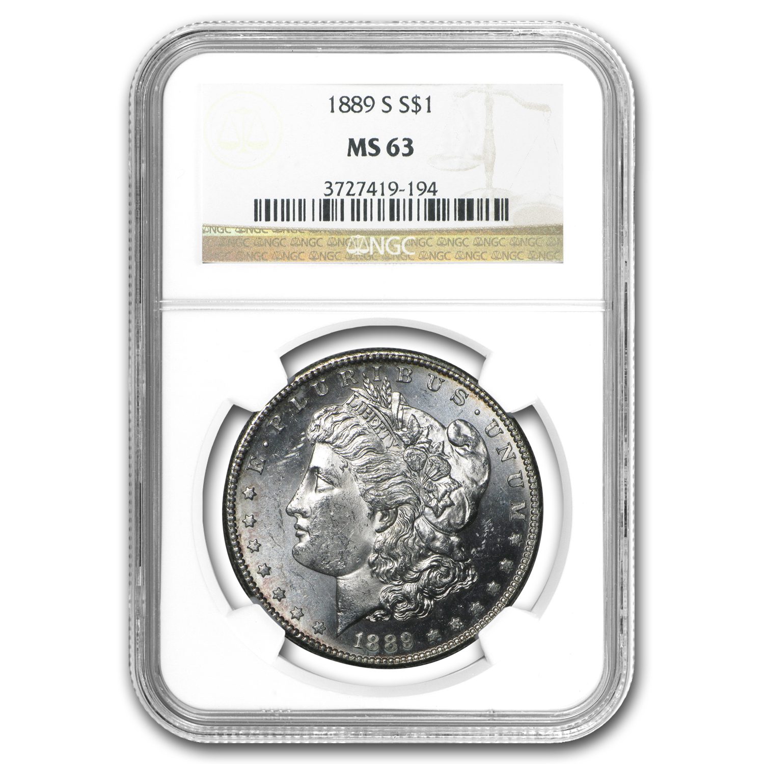 1889-S Morgan Dollar MS-63 NGC