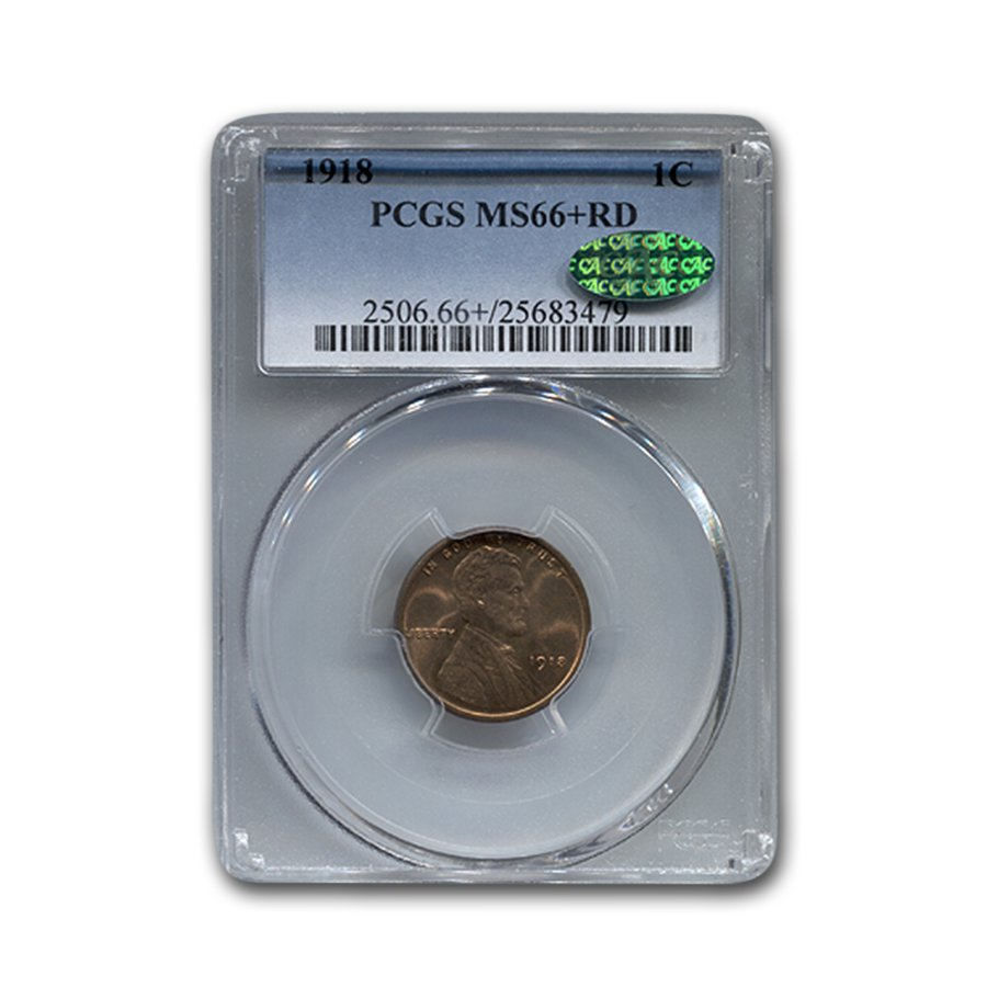 1918 Lincoln Cent MS-66 PCGS CAC (Red)