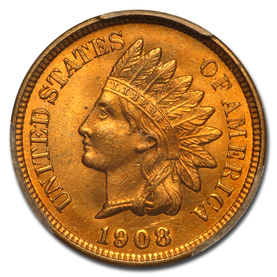 1908 Indian Head Cent MS-66 PCGS (Red)
