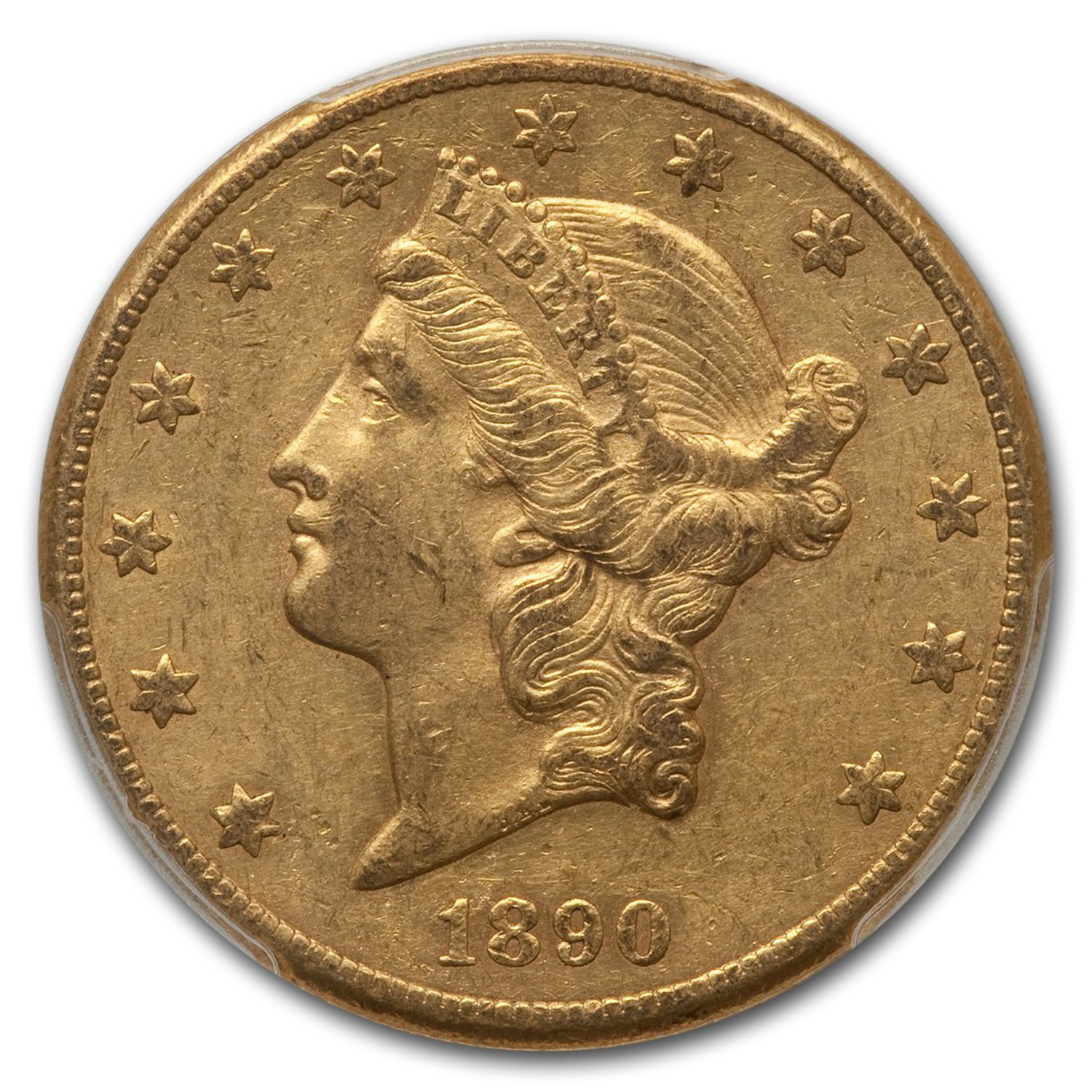 1890-CC $20 Liberty Gold Double Eagle AU-55 PCGS (CAC)