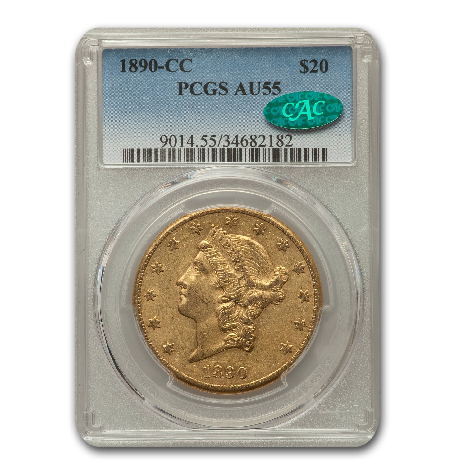 1890-CC $20 Liberty Gold Double Eagle AU-55 PCGS CAC