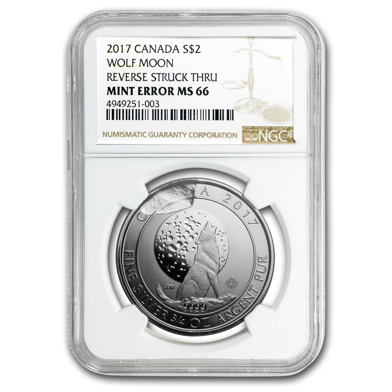 2017 Canada 3/4 oz Silver Wolf Moon MS-66 NGC (Mint Error)