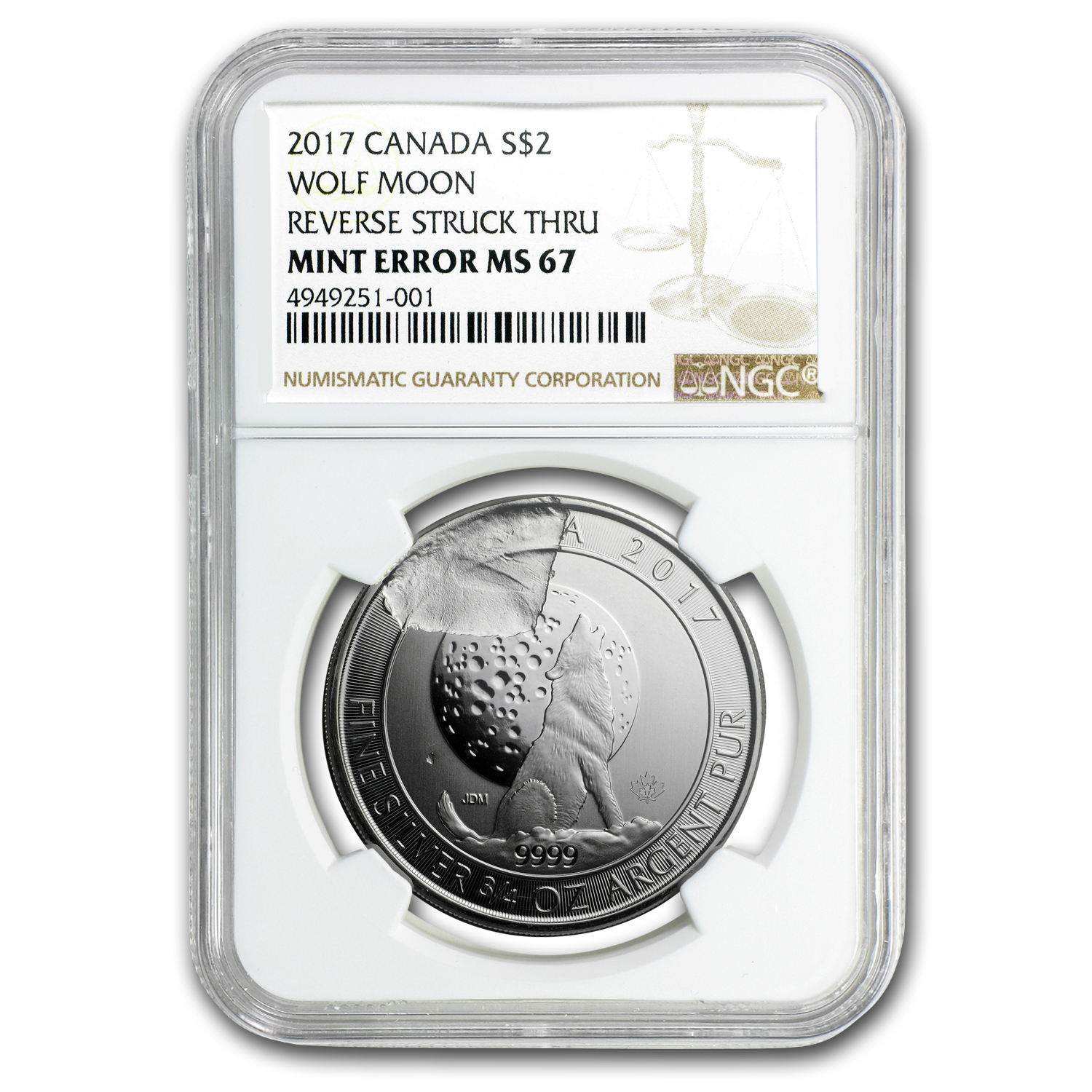 2017 Canada 3/4 oz Silver Wolf Moon MS-67 NGC (Mint Error)