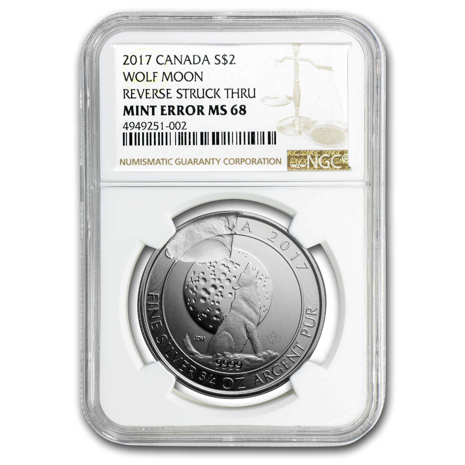2017 Canada 3/4 oz Silver Wolf Moon MS-68 NGC (Mint Error)