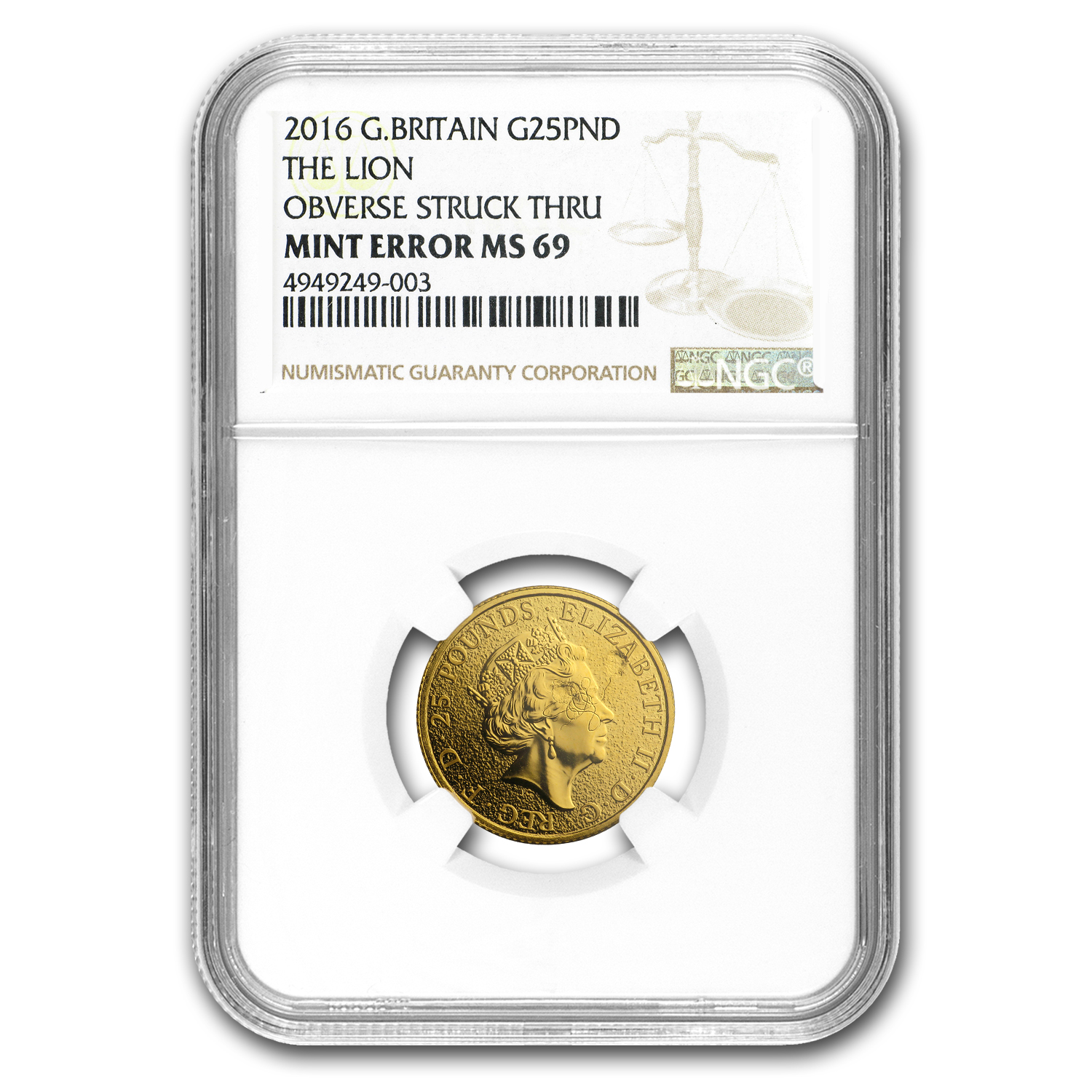 2016 GB 1/4 oz Gold Queen's Beasts The Lion MS-69 NGC (Error)