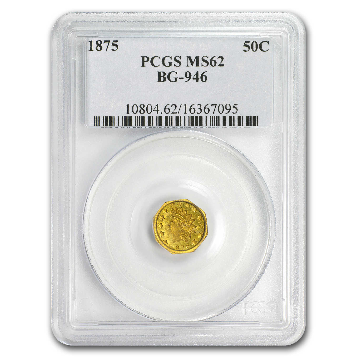 1875 BG-946 Indian Octagonal 50 Cent Gold MS-62 PCGS