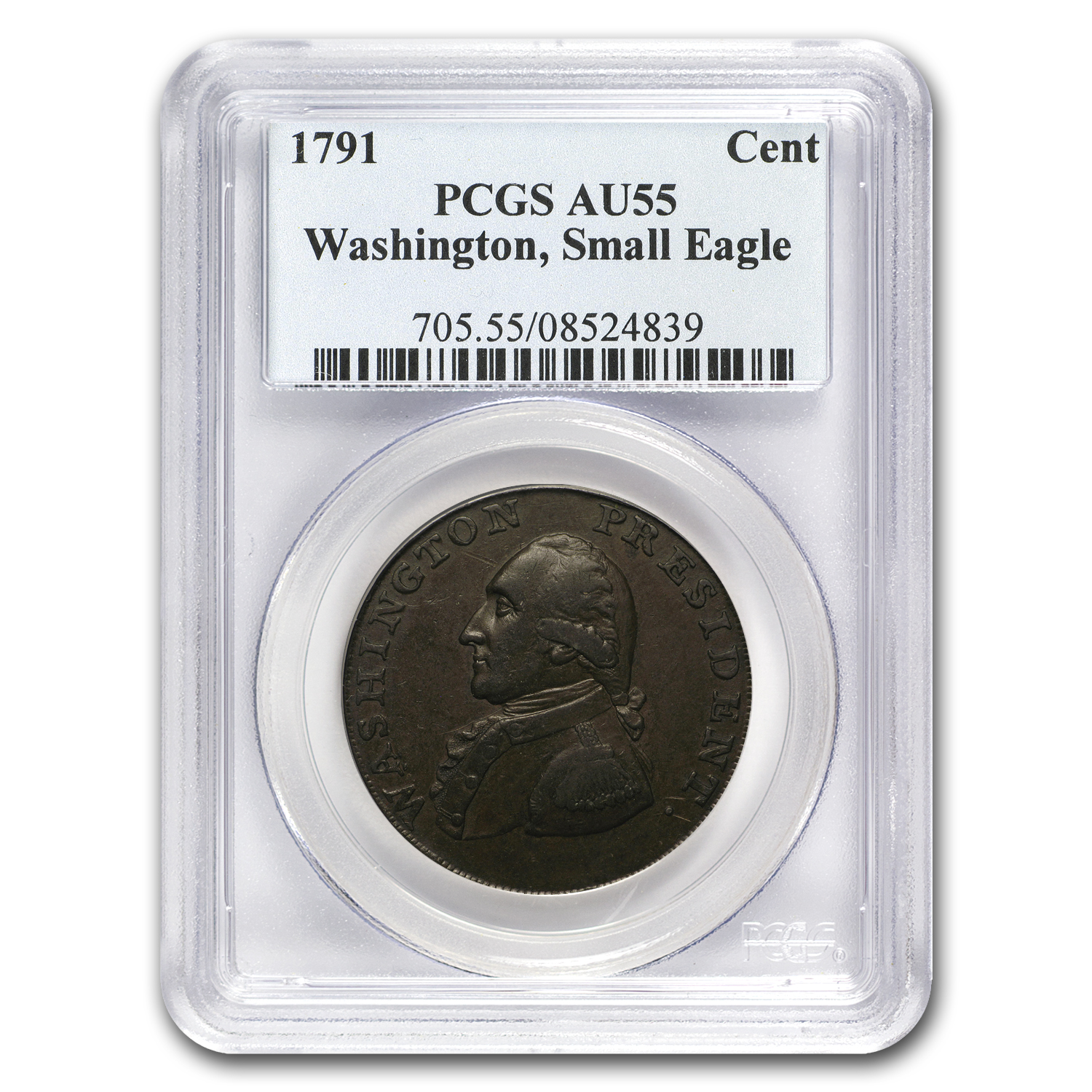 1791 Washington Copper, Small Eagle AU-55 PCGS (Brown)