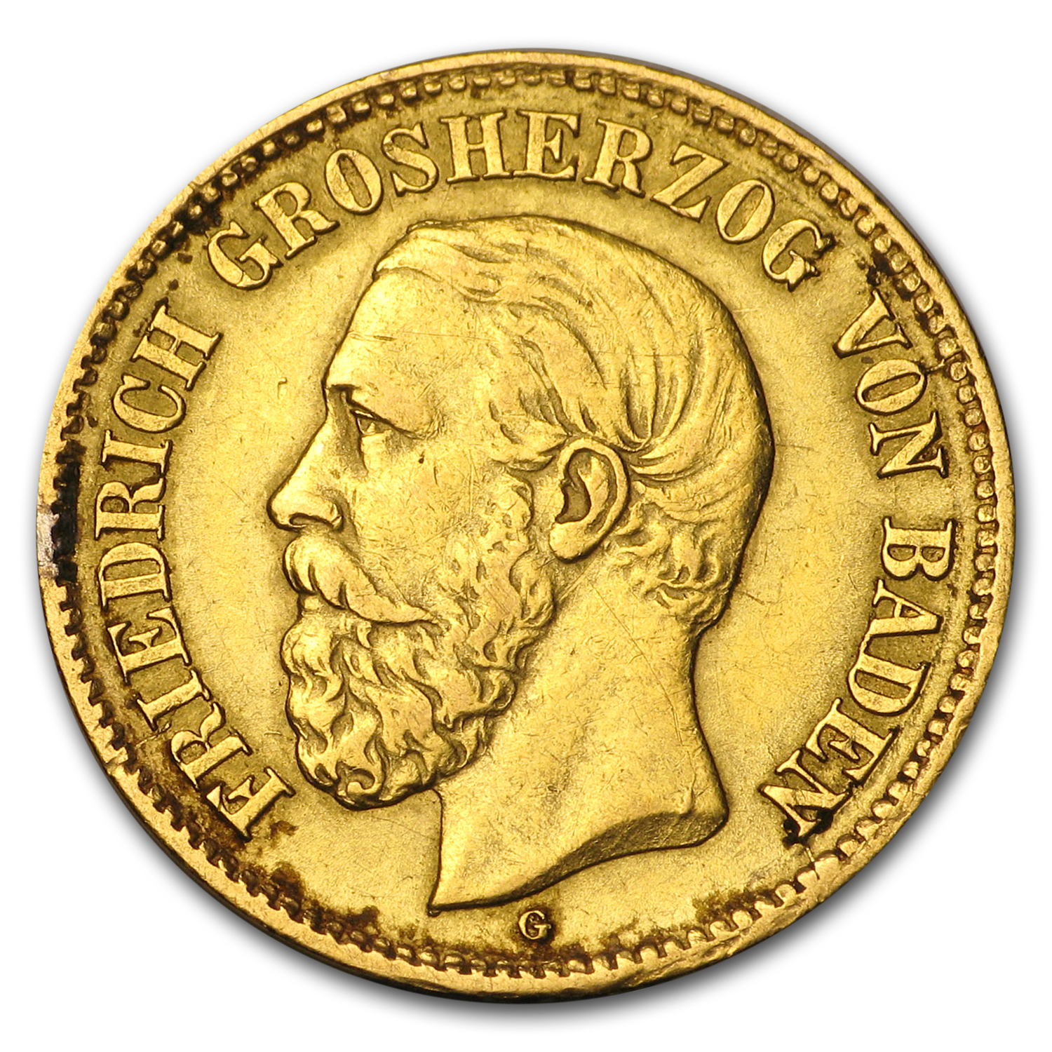 1877 Germany Gold 5 Marks Baden Friedrich I (Scruffy)
