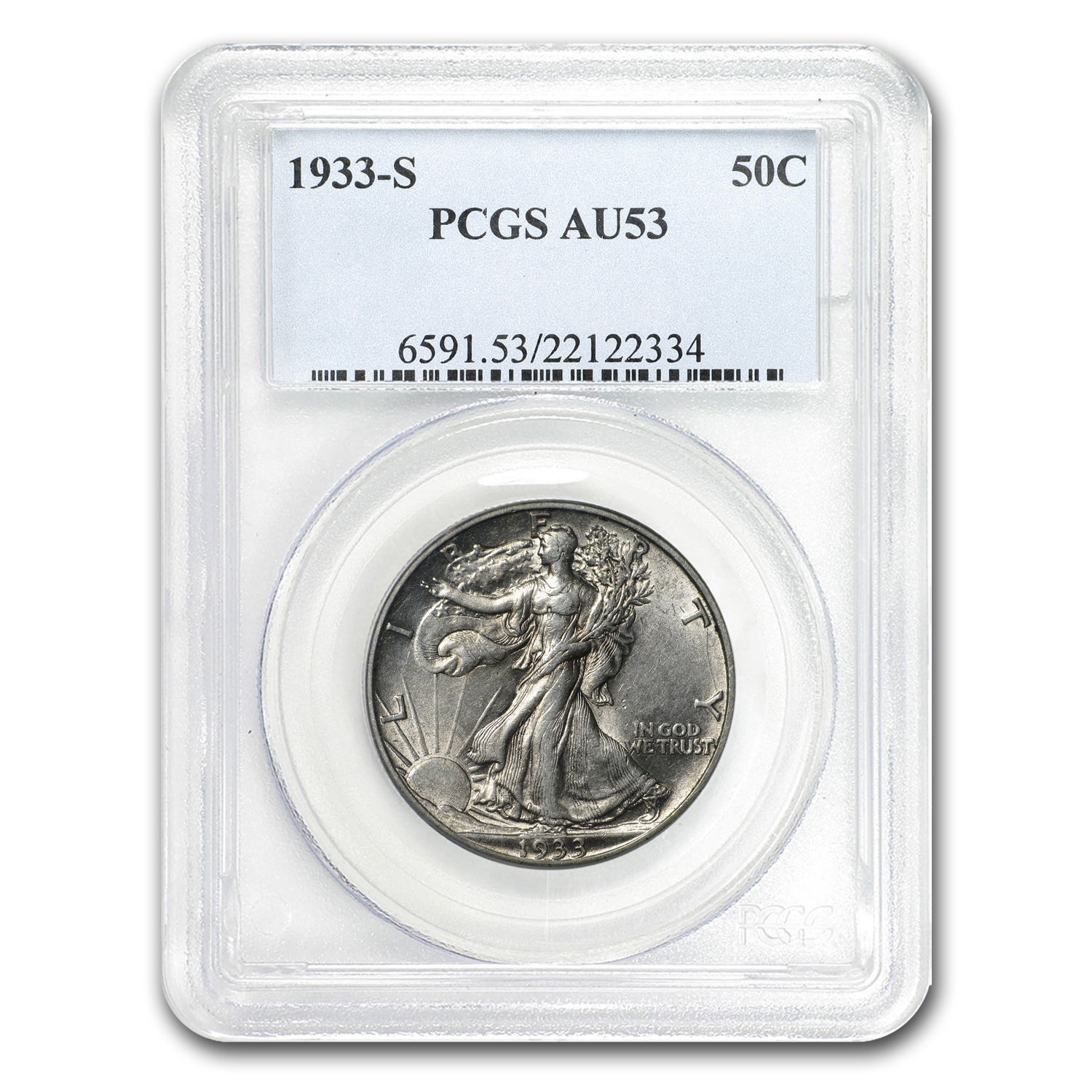 1933-S Walking Liberty Half Dollar AU-53 PCGS