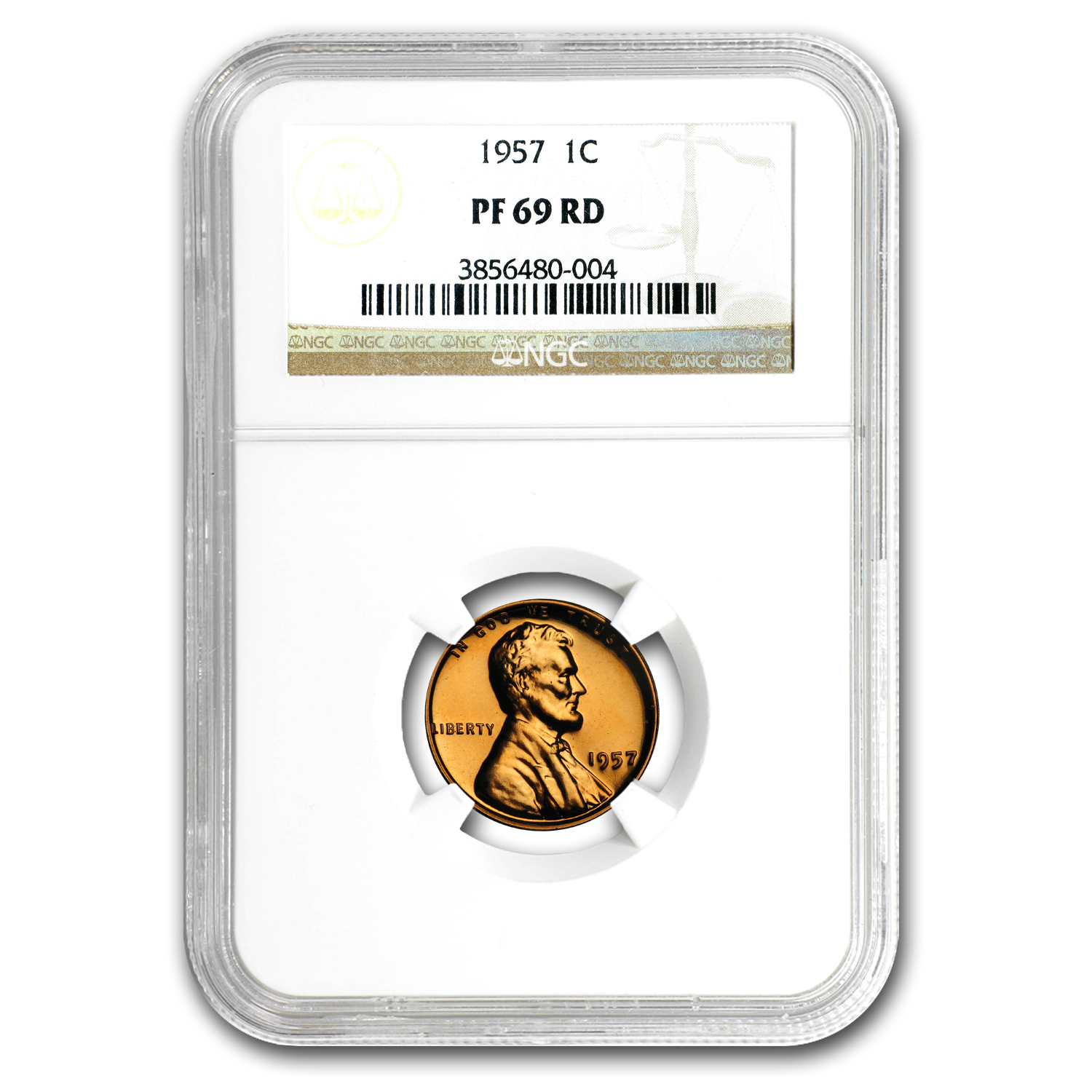 1957 Lincoln Cent PF-69 NGC (Red)