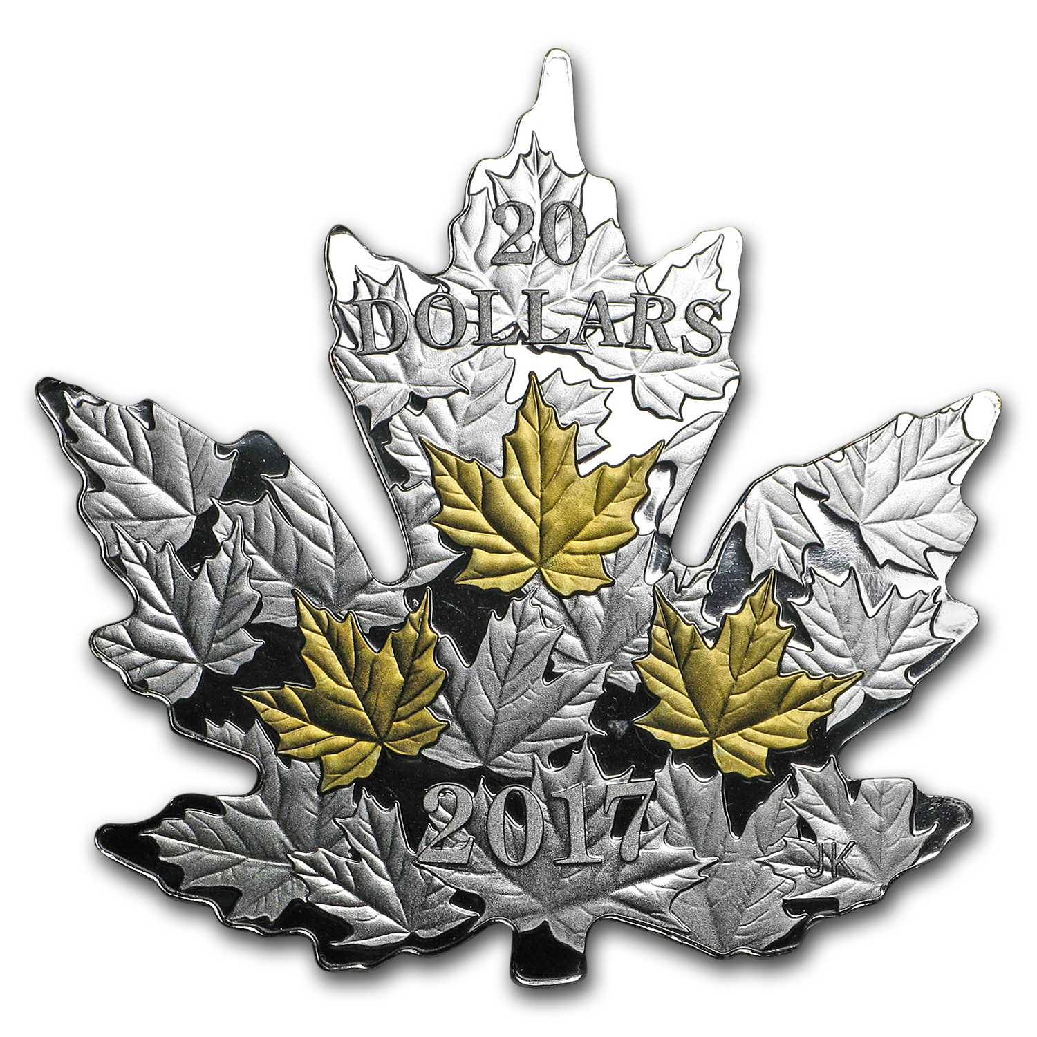 2017 Canada 1 oz Silver $20 Gilded Silver Maple Leaf