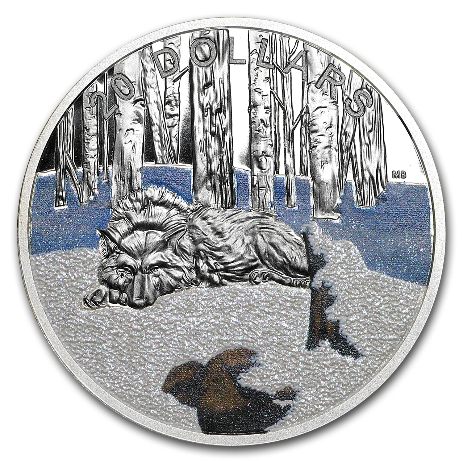 2017 1 oz Silver Proof $20 Glistening North: The Arctic Wolf