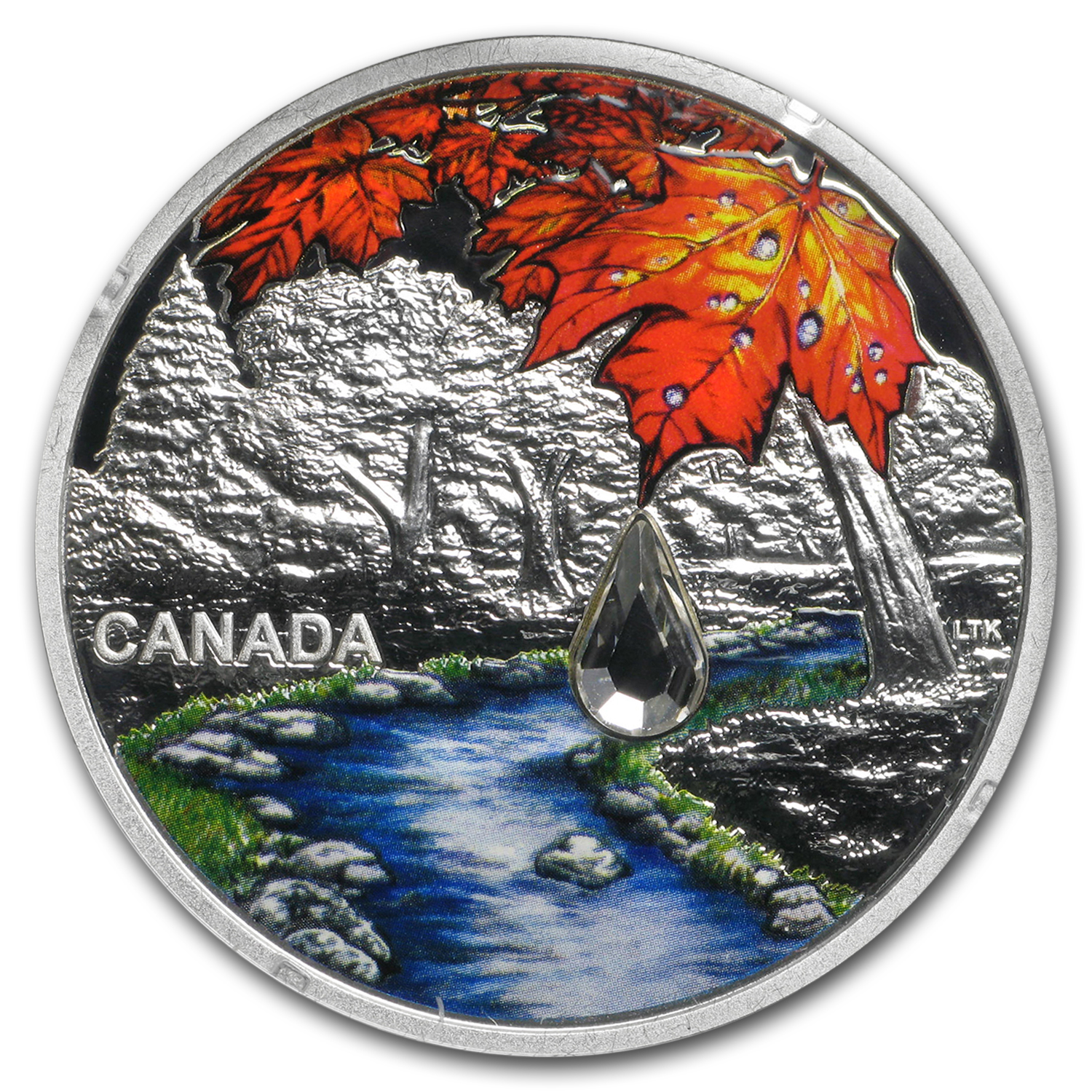 2017 Canada 1 oz Silver $20 Jewel of the Rain: Sugar Maple Leaves