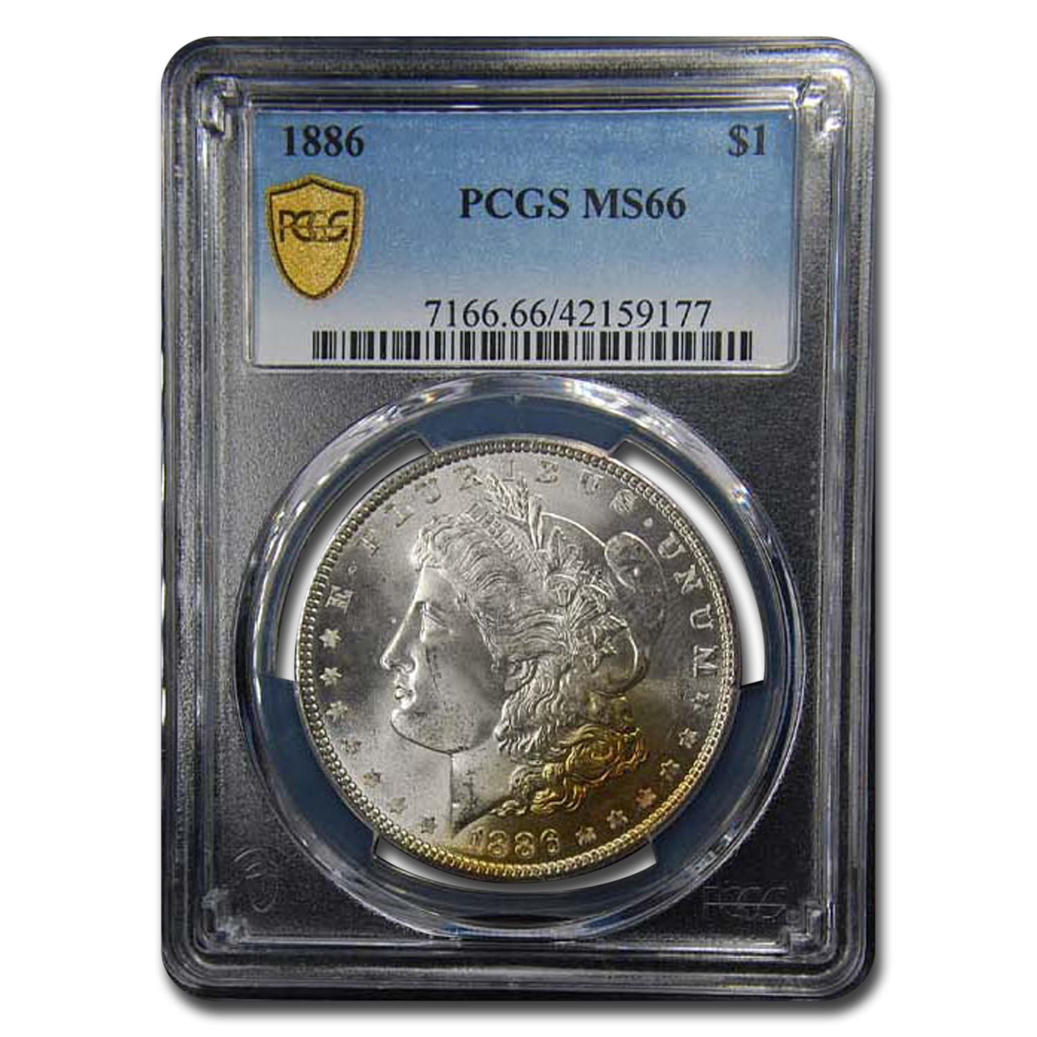 1886 Morgan Dollar MS-66 PCGS (Peripheral toning)