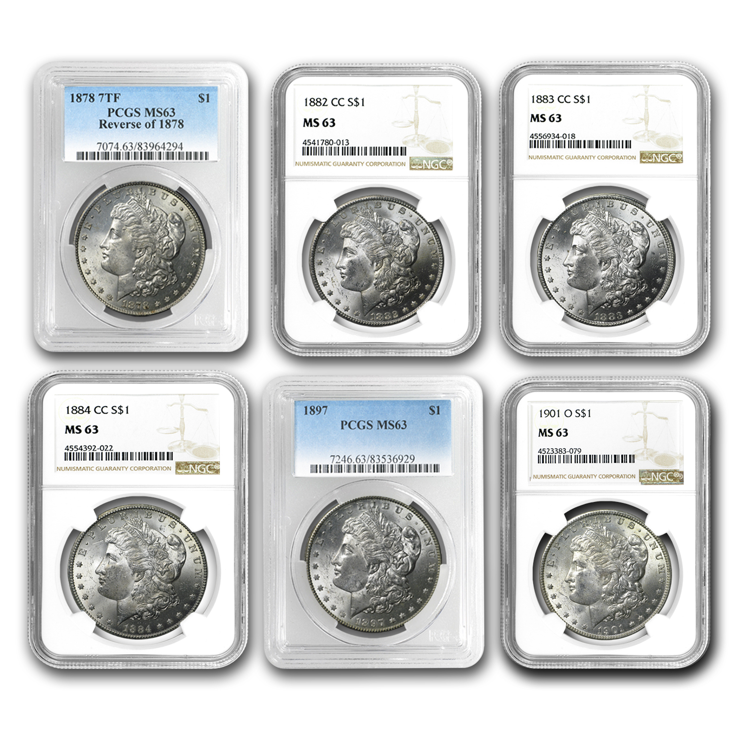 1878-1904 Morgan Dollars MS-63 PCGS/NGC (40 Diff Dates/Mints)