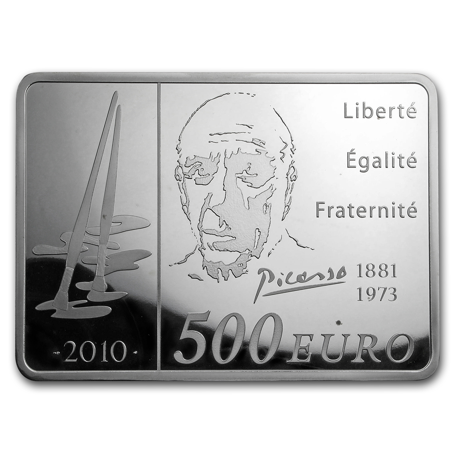 2010 France 1 kilo Silver €500 Pablo Picasso Proof (Spotted)