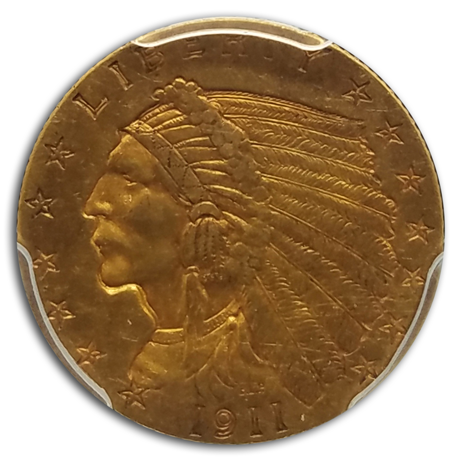 1911-D $2.50 Indian Gold Quarter Eagle Strong D AU-53 PCGS