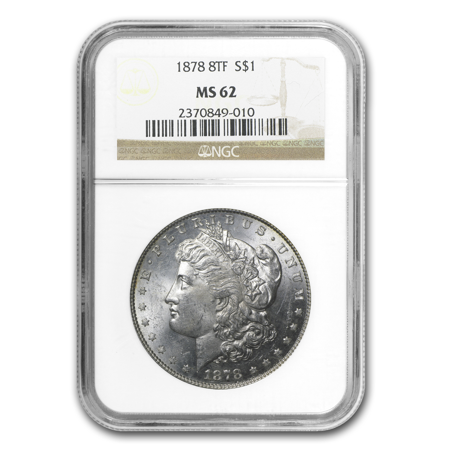 1878 Morgan Dollar 8 TF MS-62 NGC