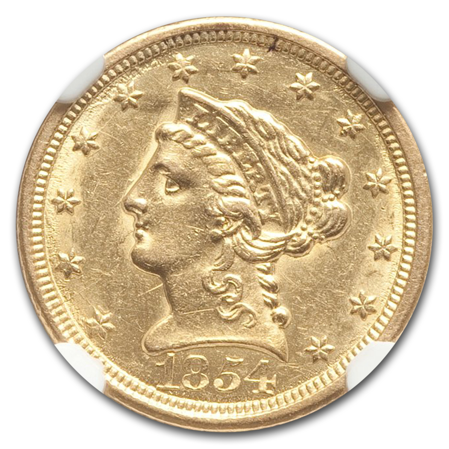 1854-O $2.50 Liberty Gold Quarter Eagle AU-58 NGC