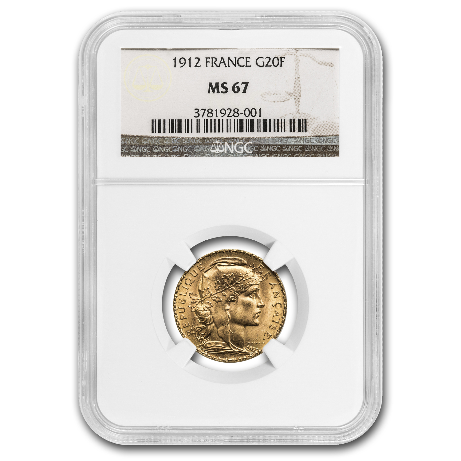 1912 France Gold 20 Francs Rooster MS-67 NGC