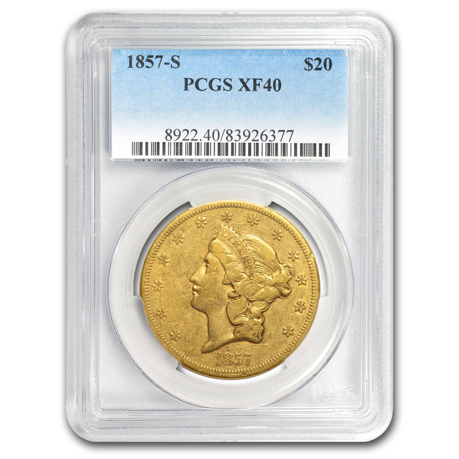 1857-S $20 Liberty Gold Double Eagle XF-40 PCGS