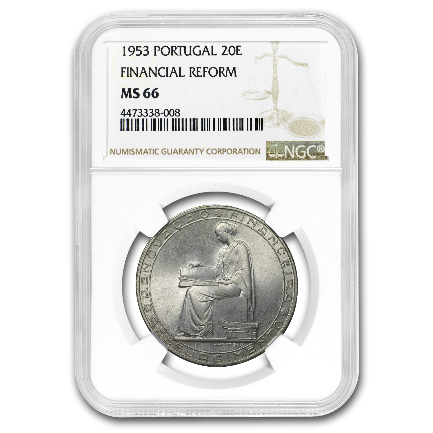 1953 Portugal Silver 20 Escudos Financial Reform MS-66 NGC