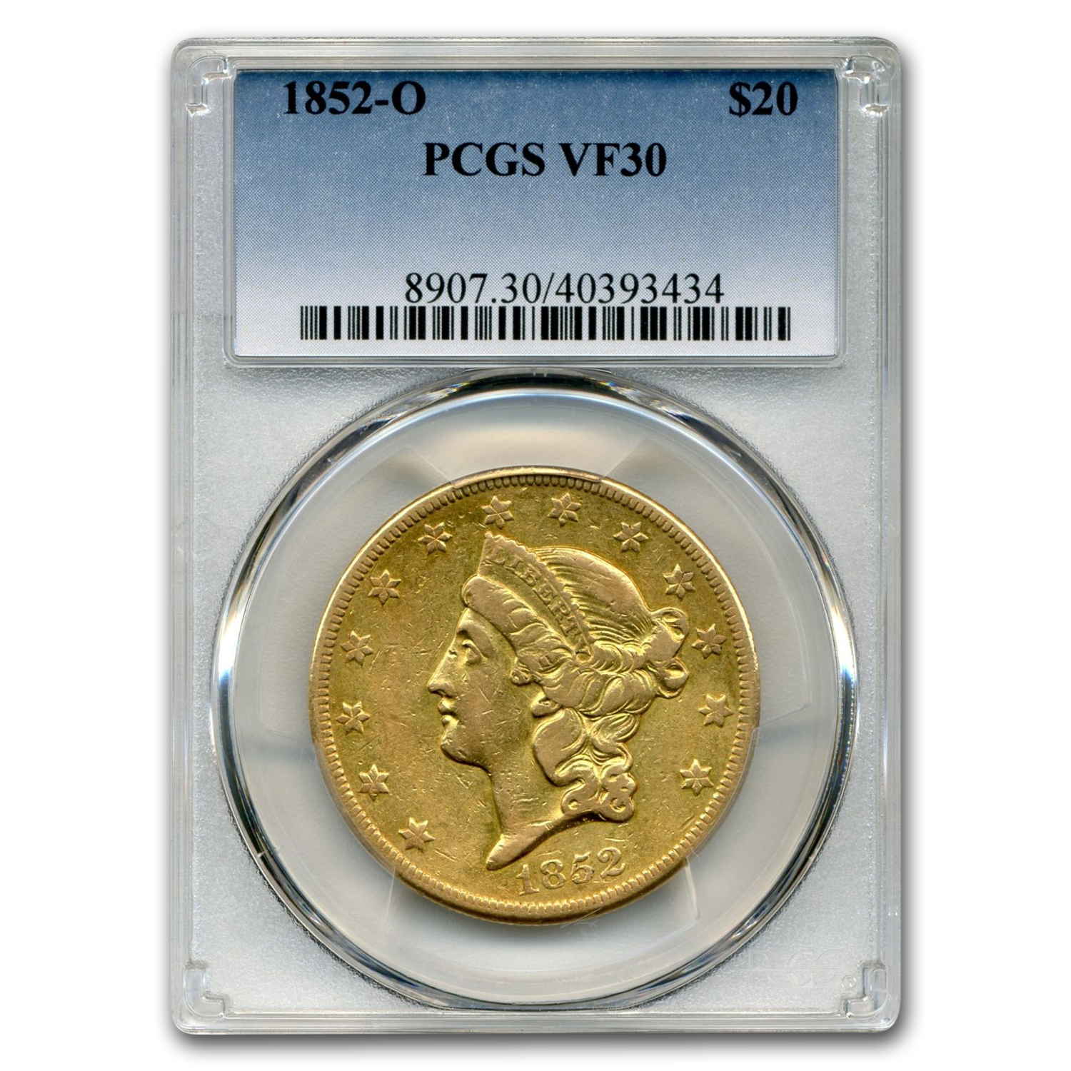 1852-O $20 Liberty Gold Double Eagle VF-30 PCGS