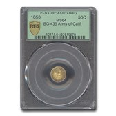 1853 Arms of California Fractional Gold MS-64 PCGS (BG-435)