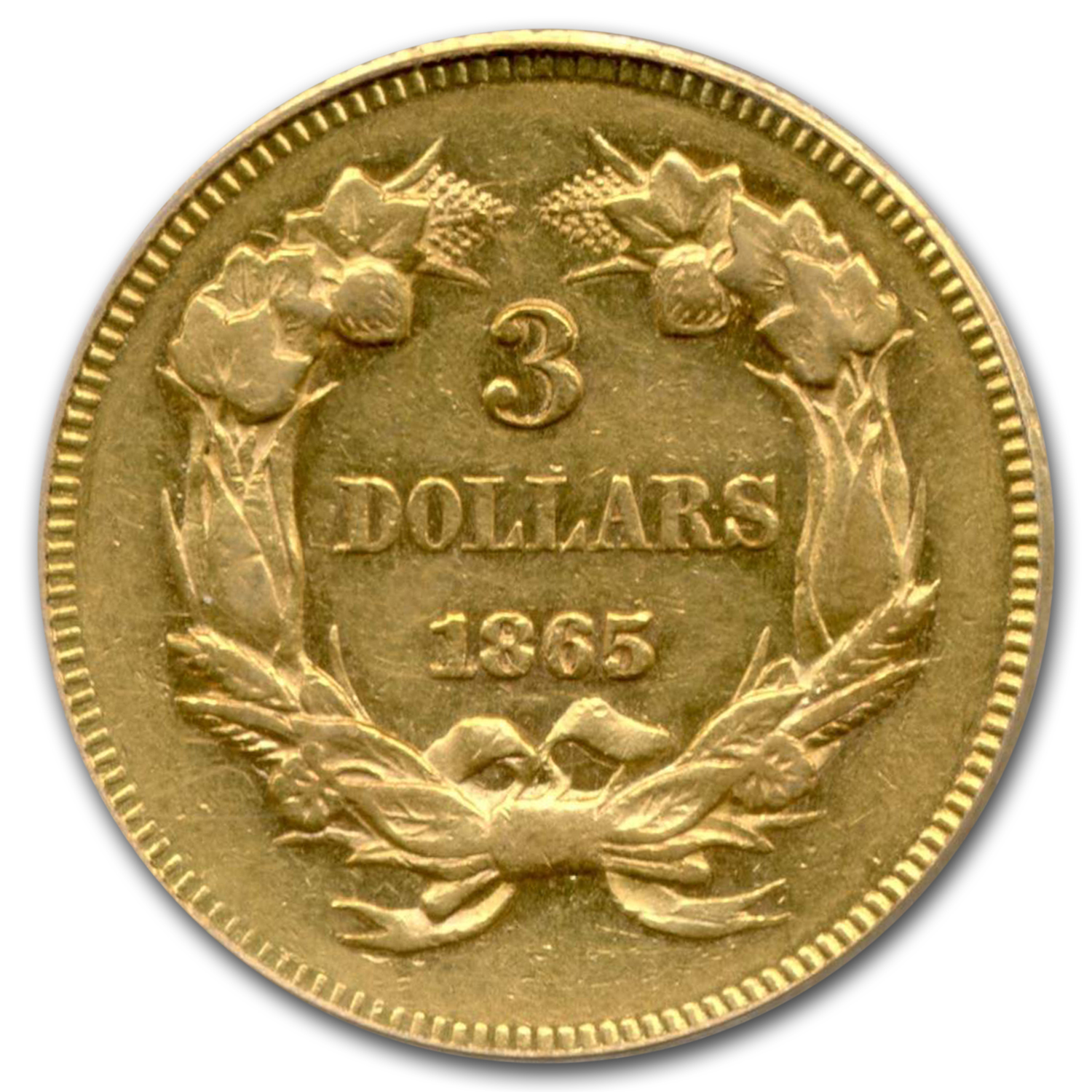 1865 $3 Gold Princess AU-53 PCGS