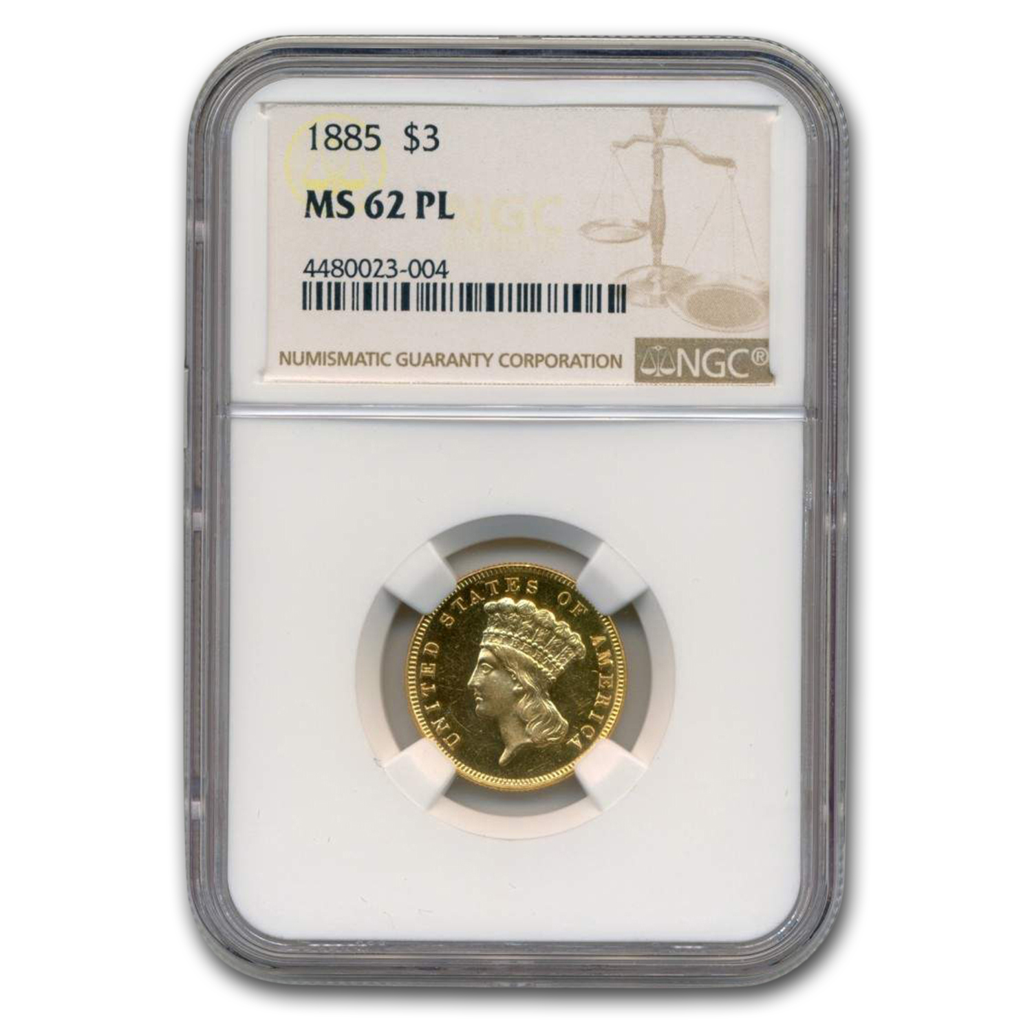 1885 $3 Gold Princess MS-62 NGC (PL)