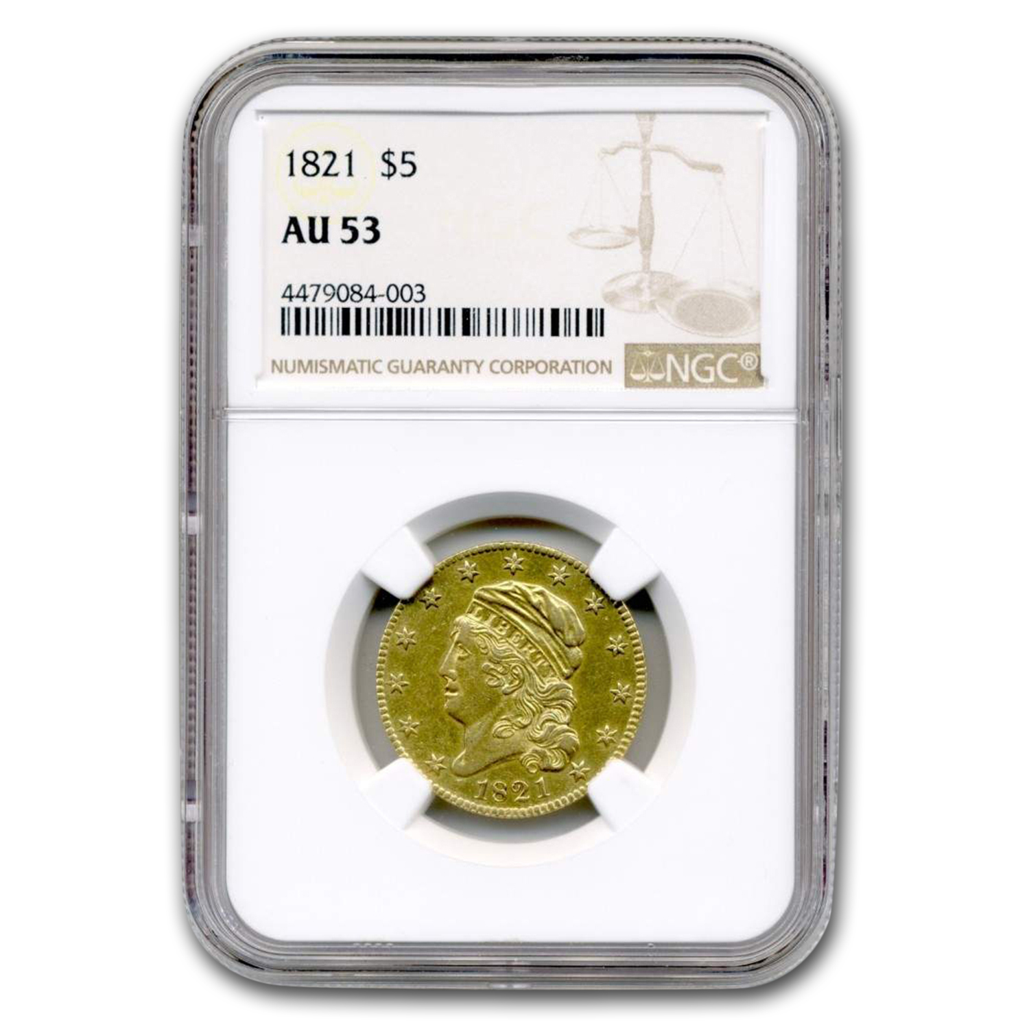 1821 $5 Gold Capped Head Half Eagle AU-53 NGC