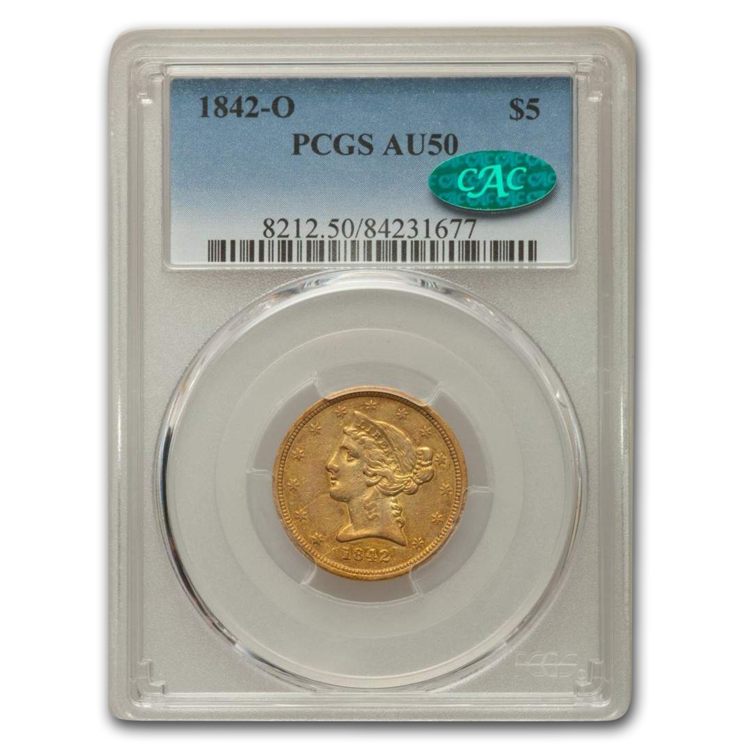 1842-O $5 Liberty Gold Half Eagle AU-50 PCGS CAC