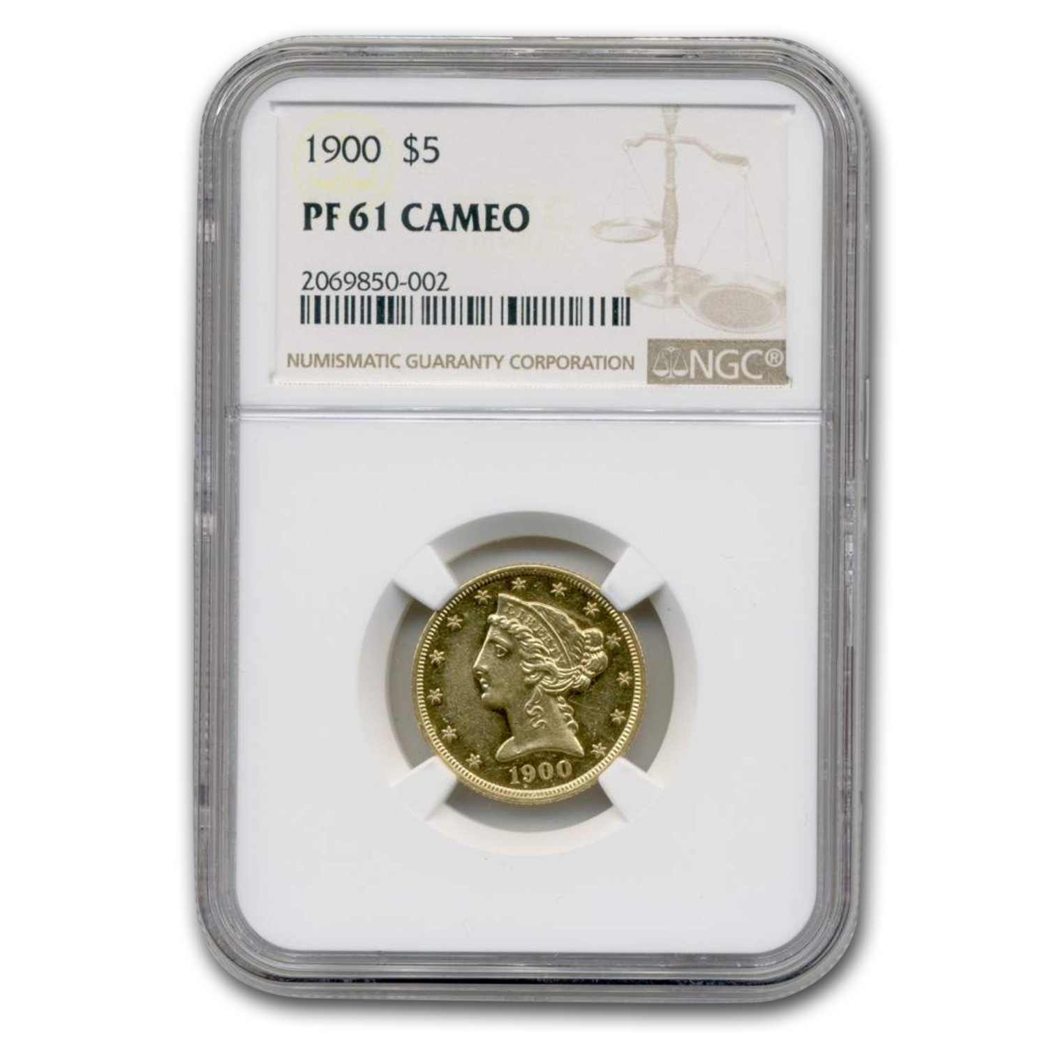 1900 $5 Liberty Gold Half Eagle PR-61 Cameo NGC
