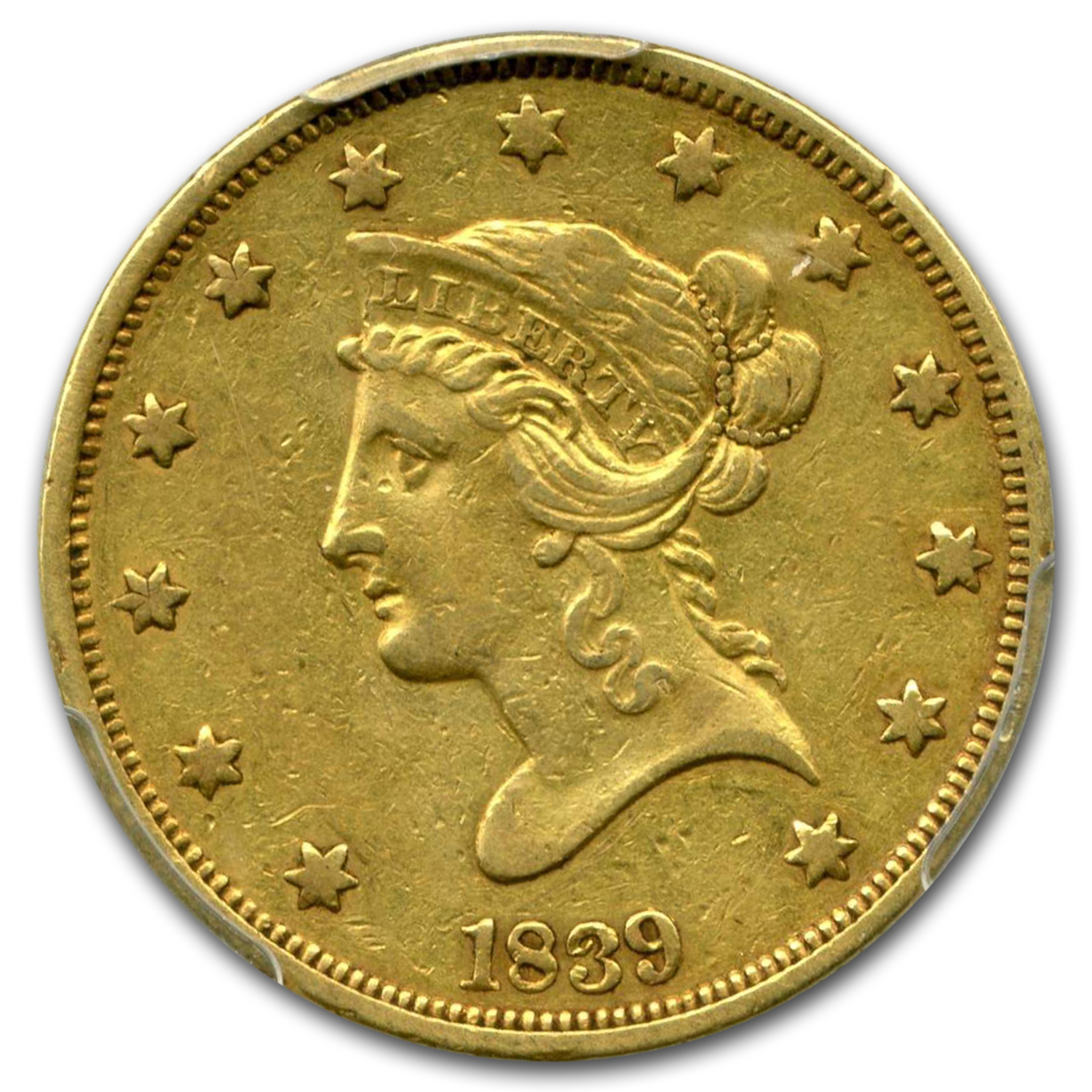 1839/8 $10 Liberty Gold Eagle XF-40 PCGS (Type of 1838)
