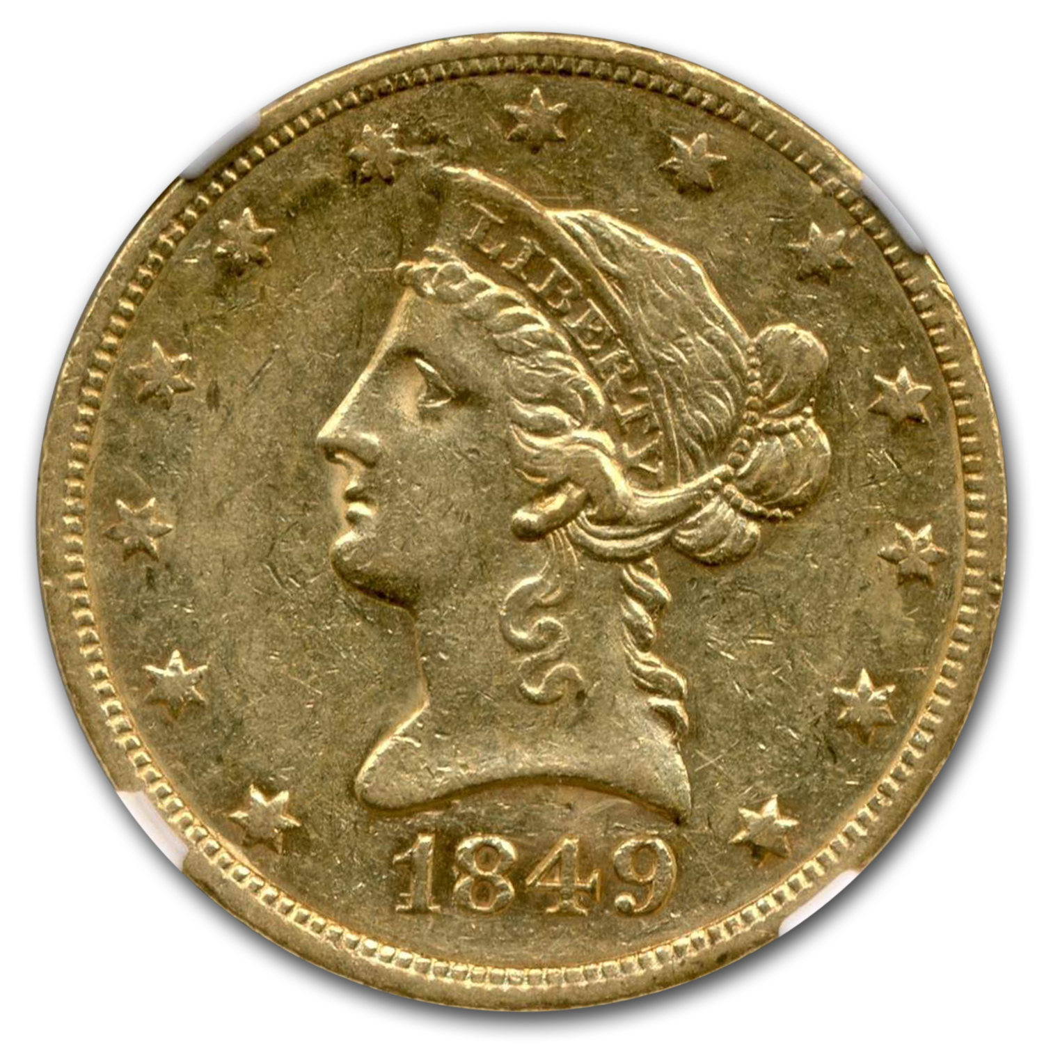 1849 $10 Liberty Gold Eagle AU-53 NGC (VP-003)