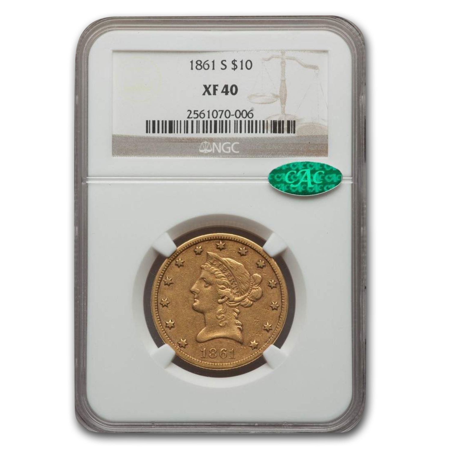 1861-S $10 Liberty Gold Eagle XF-40 NGC CAC