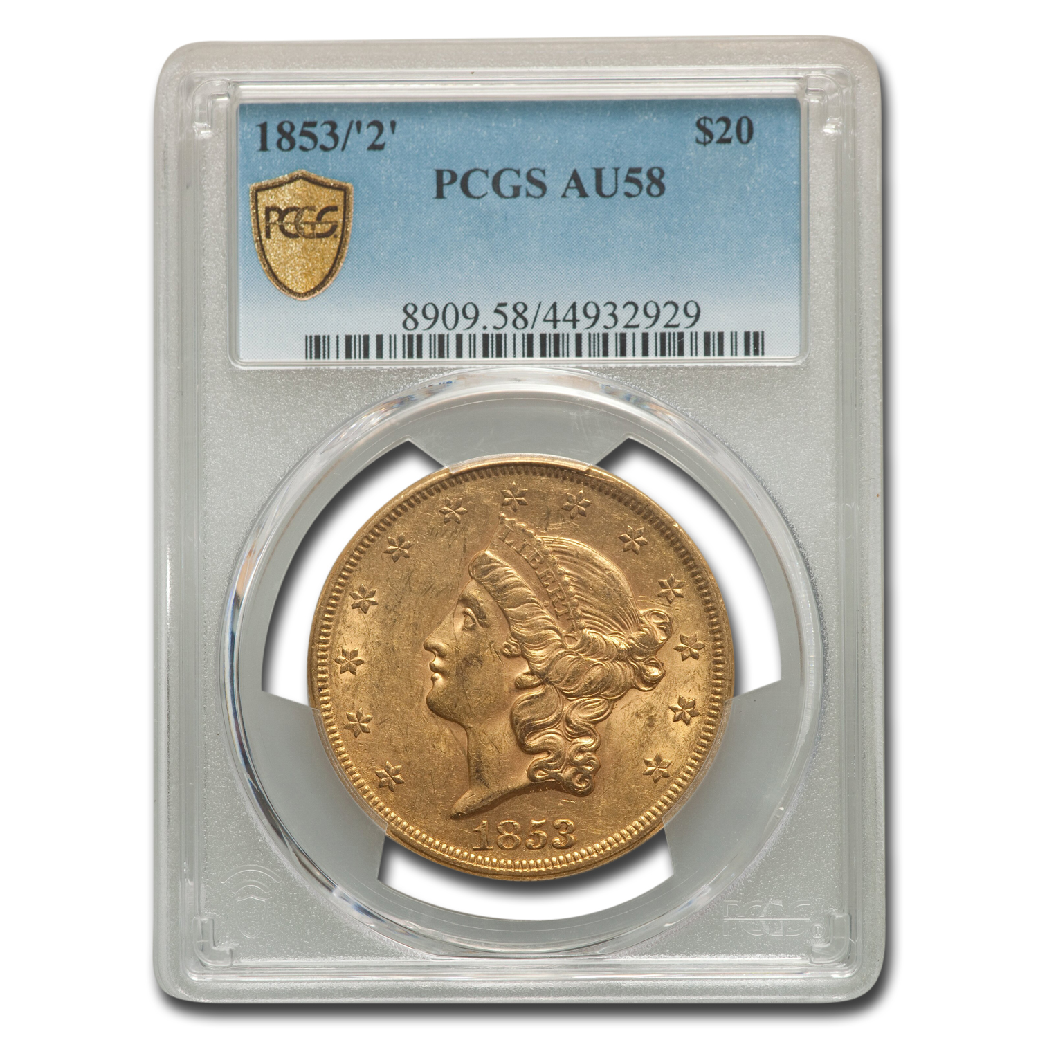 1853/2 $20 Liberty Gold Double Eagle AU-58 PCGS