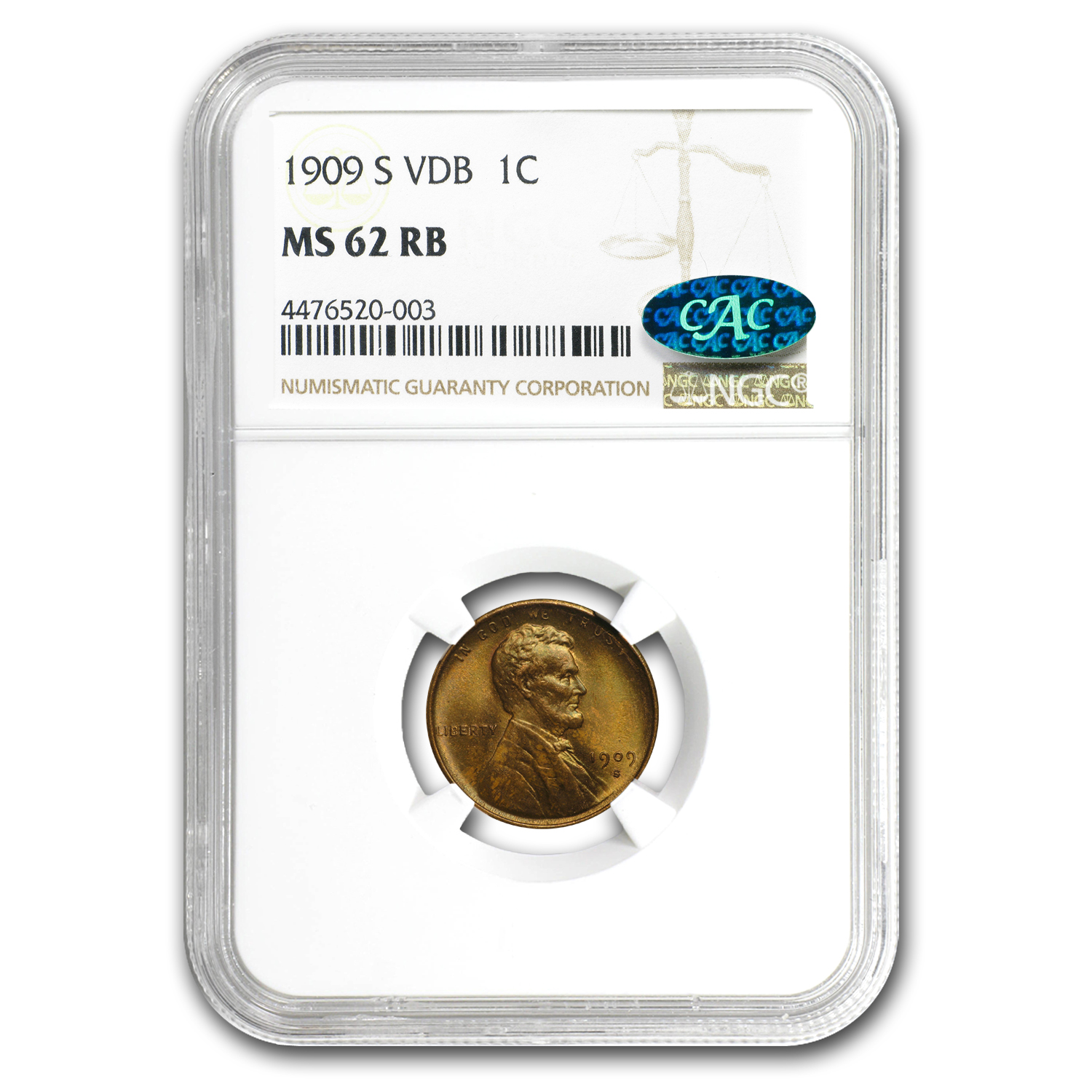 1909-S VDB Lincoln Cent MS-62 NGC CAC (Red/Brown)