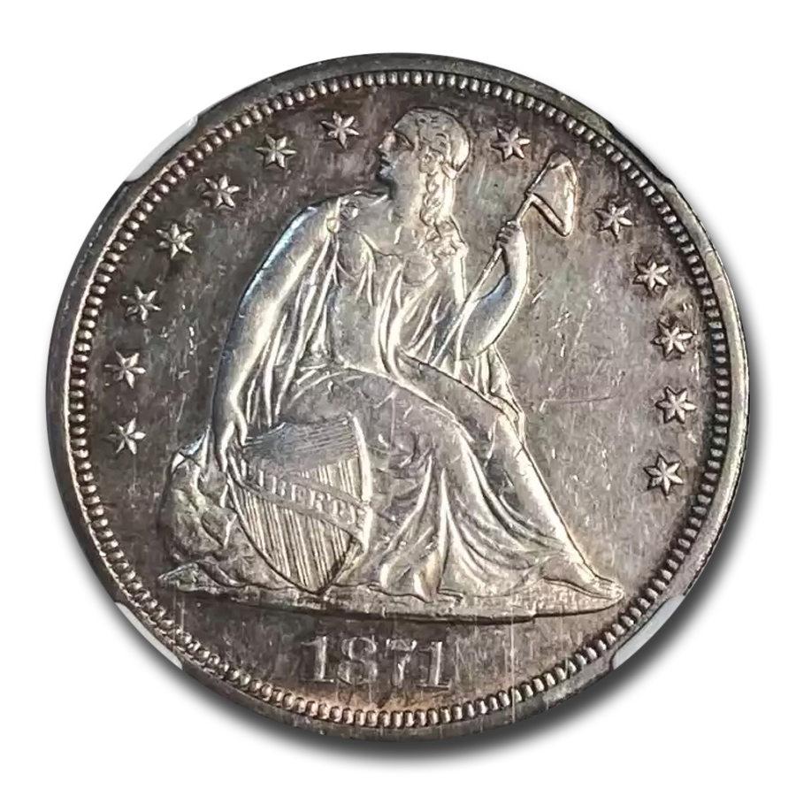 1871 Liberty Seated Dollar AU-55 NGC