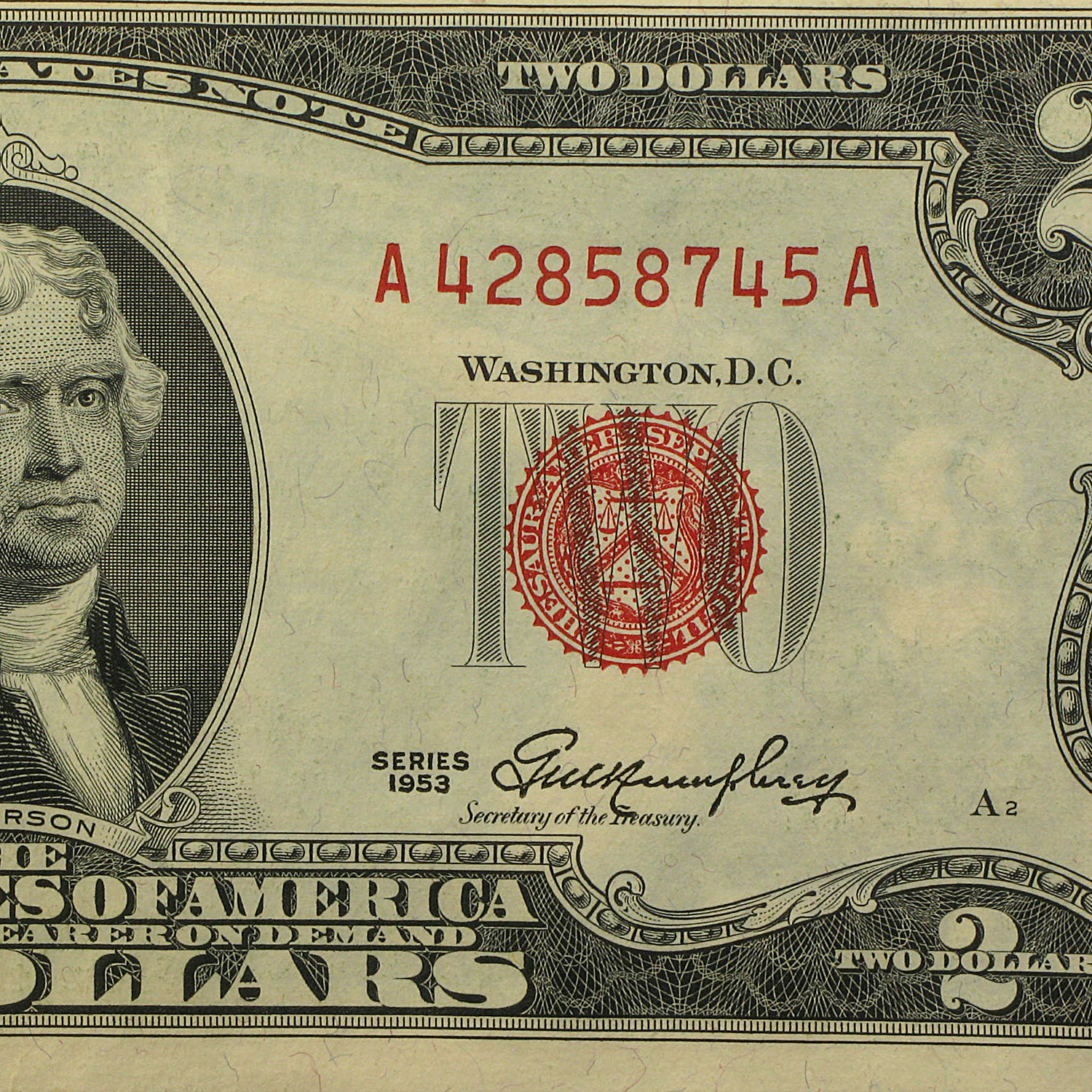 1953 thru 1953-C $2 USN's (RED SEALS) Crisp Uncirculated