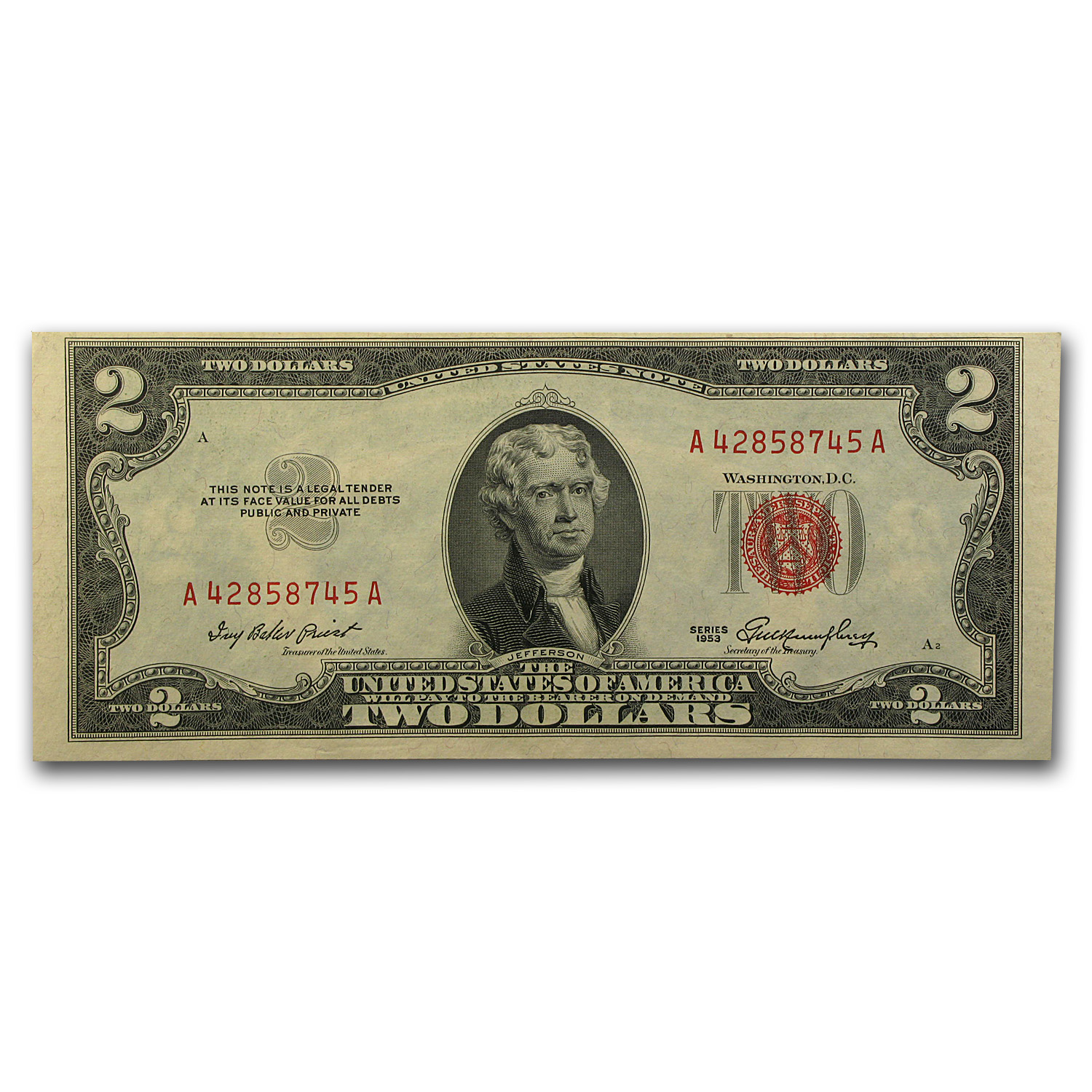 1953 thru 1953-C $2.00 U.S. Notes Red Seal CU