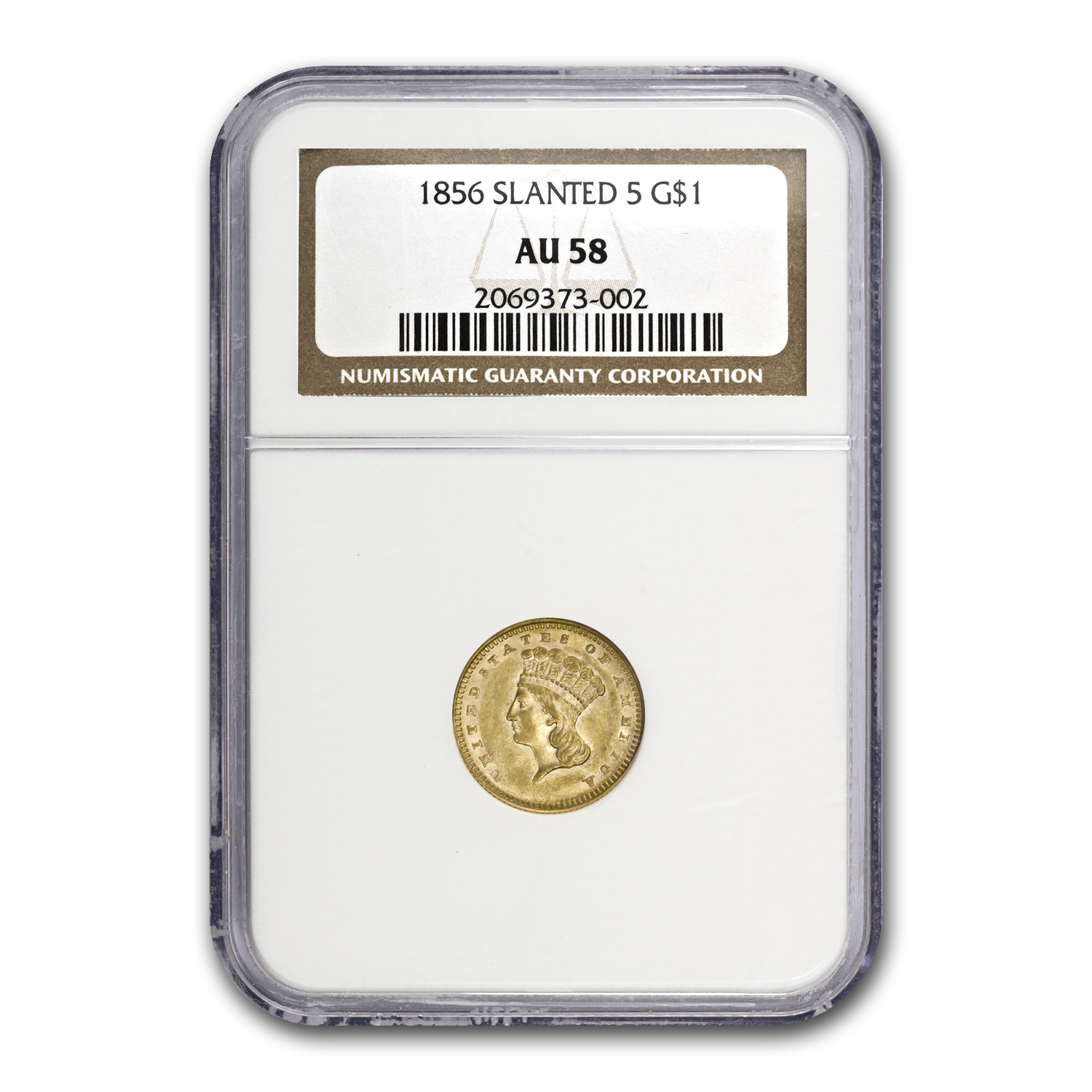 1856 $1 Indian Head Gold Slanted 5 AU-58 NGC