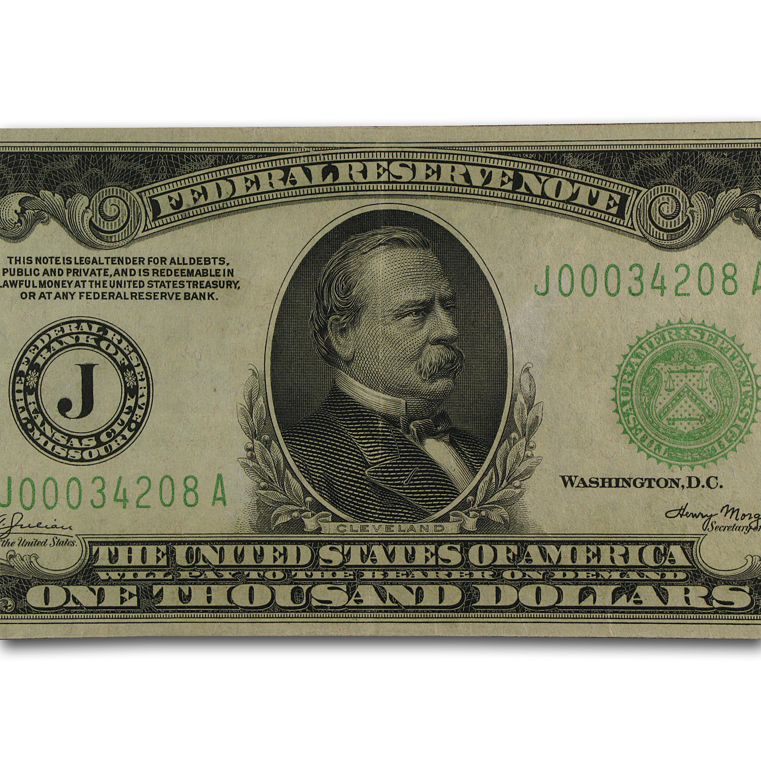 1934-A (J-Kansas City) $1,000 FRN XF