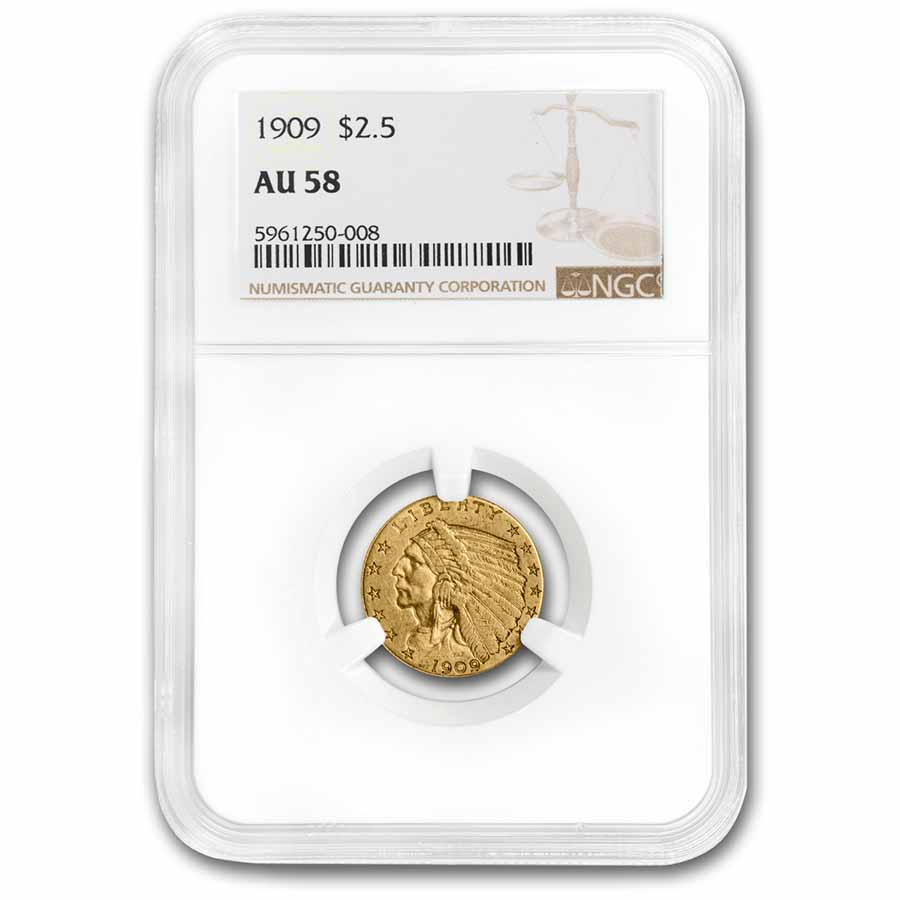 1909 $2.50 Indian Gold Quarter Eagle AU-58 NGC