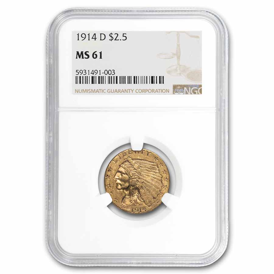 1914-D $2.50 Indian Gold Quarter Eagle MS-61 NGC